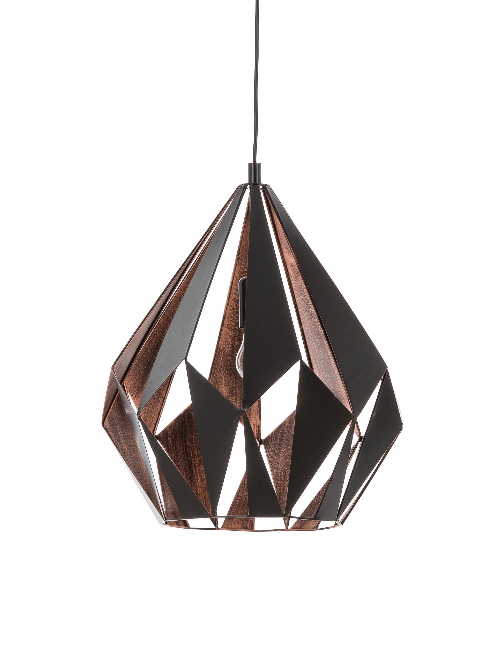 Pendelleuchte Carlton, Stahl, lackiert, Schwarz, Kupferfarben, Ø 31 x H 42 cm