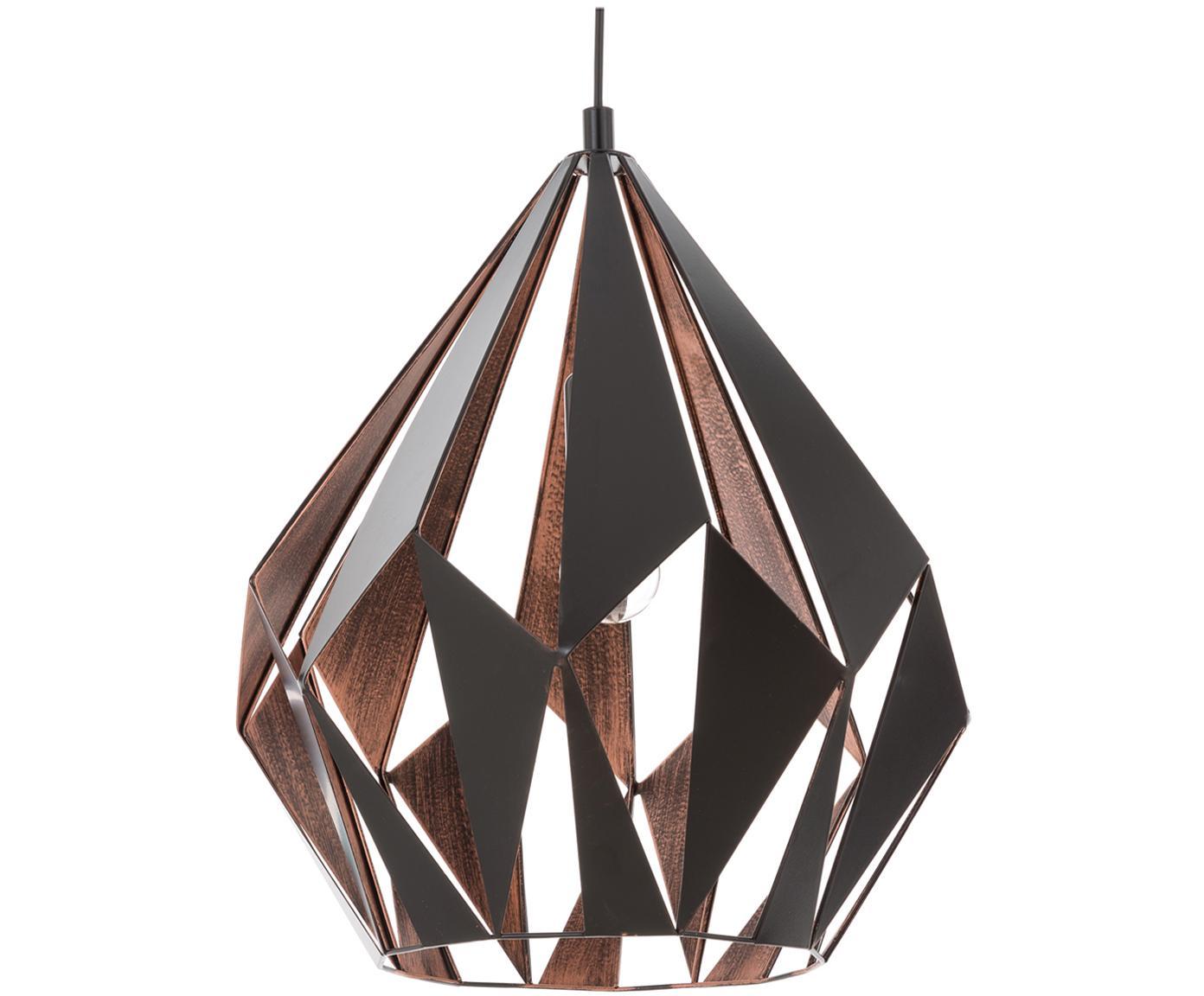 Lampada a sospensione stile nordico Carlton, Acciaio verniciato, Nero, rame, Ø 39 x Alt. 42 cm
