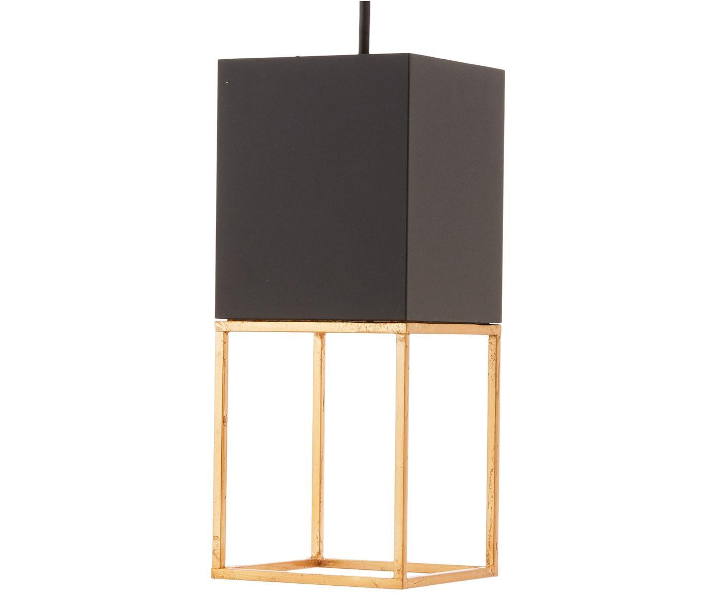 Kleine LED Pendelleuchte Montebaldo, Schwarz, Goldfarben, 12 x 20 cm
