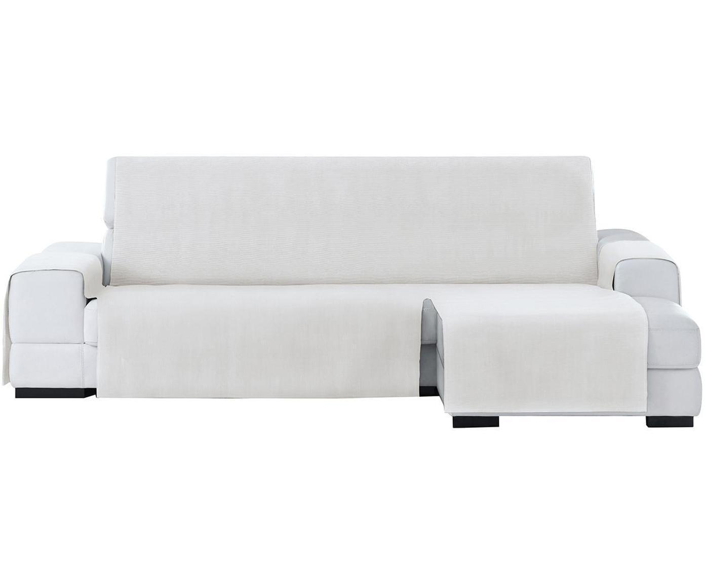 Funda de sofá Levante, 50%algodón, 50%poliéster, Blanco, Brazo corto (240 cm)