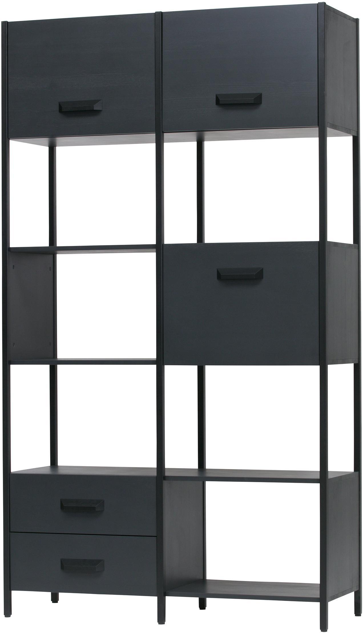 Estantería de metal Legacy, Negro, An 123 x Al 220 cm