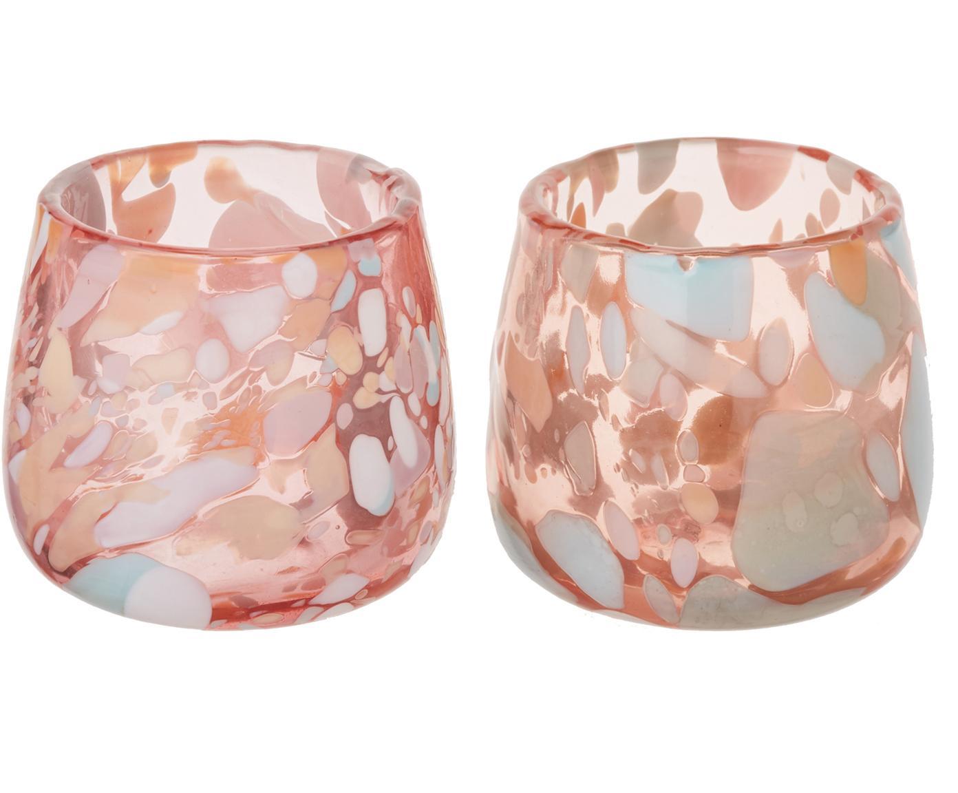 Mundgeblasene Teelichthalter Art, 2 Stück, Glas, mundgeblasen, Rosa, Blau, Grün, Lachsfarben, Creme, Ø 10 x H 9 cm