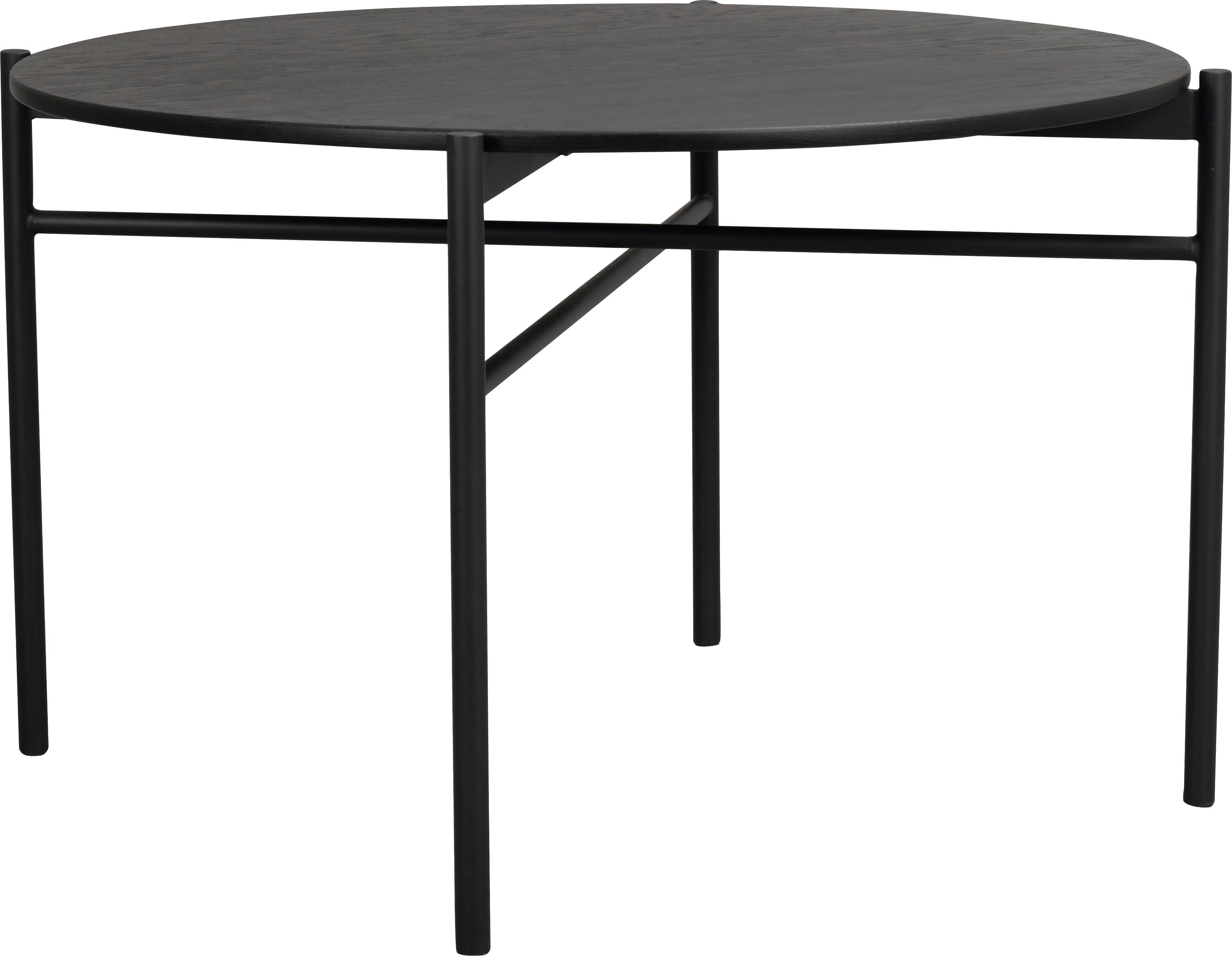 Runder Esstisch Skye in Schwarz, Tischplatte: Mitteldichte Holzfaserpla, Beine: Metall, pulverbeschichtet, Schwarz, Ø 120 x H 75 cm