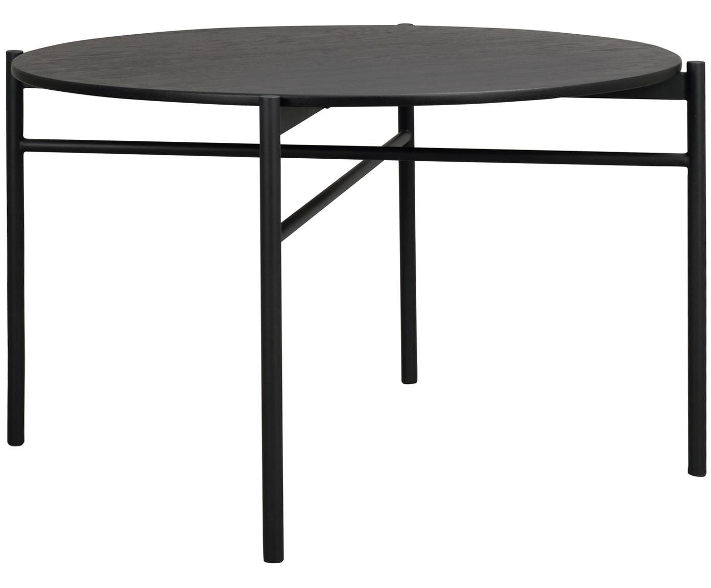 Ronde eettafel Skye in zwart, Tafelblad: MDF, zwart gelakt eikenho, Poten: gepoedercoat metaal, Zwart, Ø 120 x H 75 cm