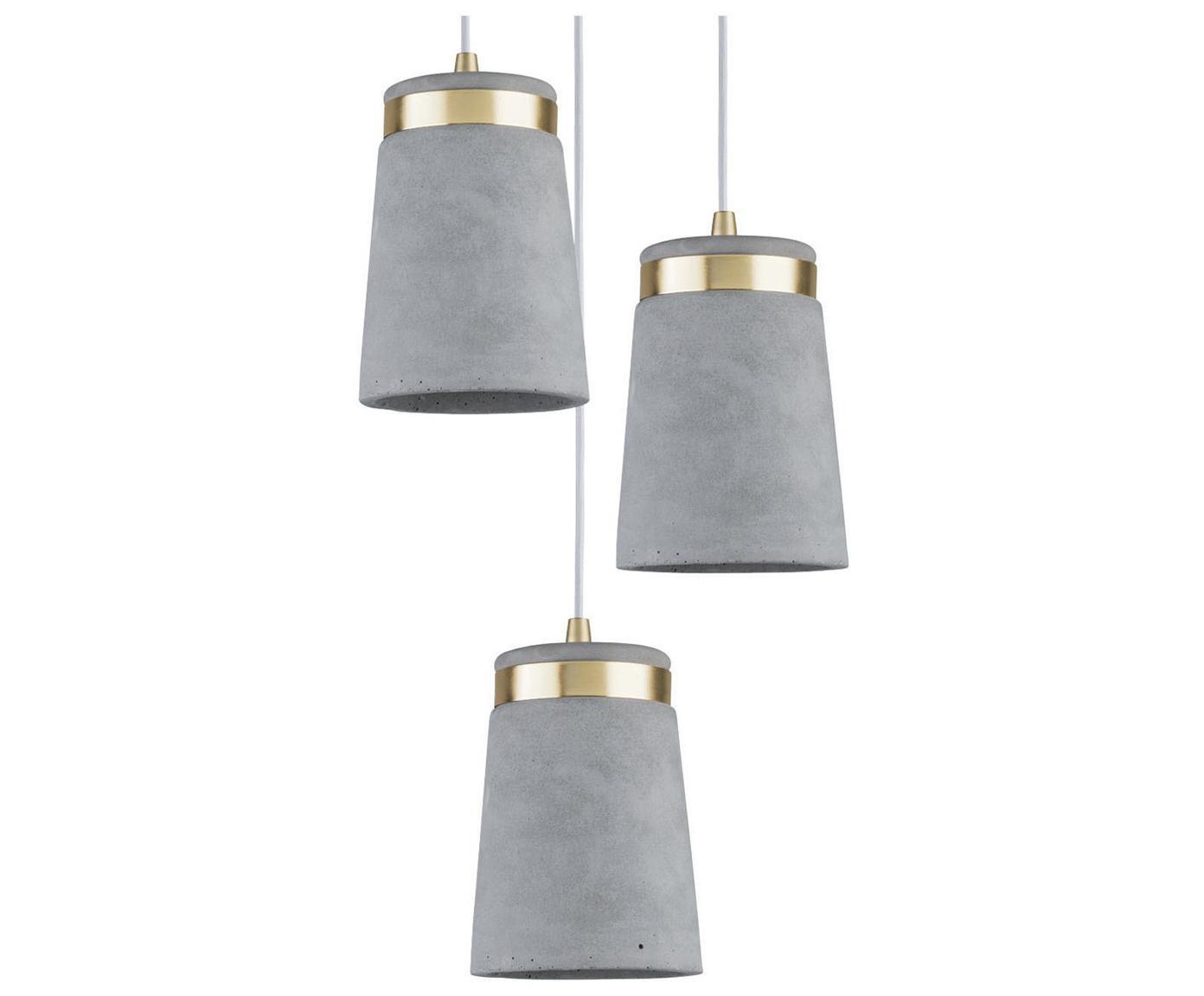 Betonnen hanglamp Norell, Lampenkap: beton, Grijs, messingkleurig, Ø 12 x H 17 cm