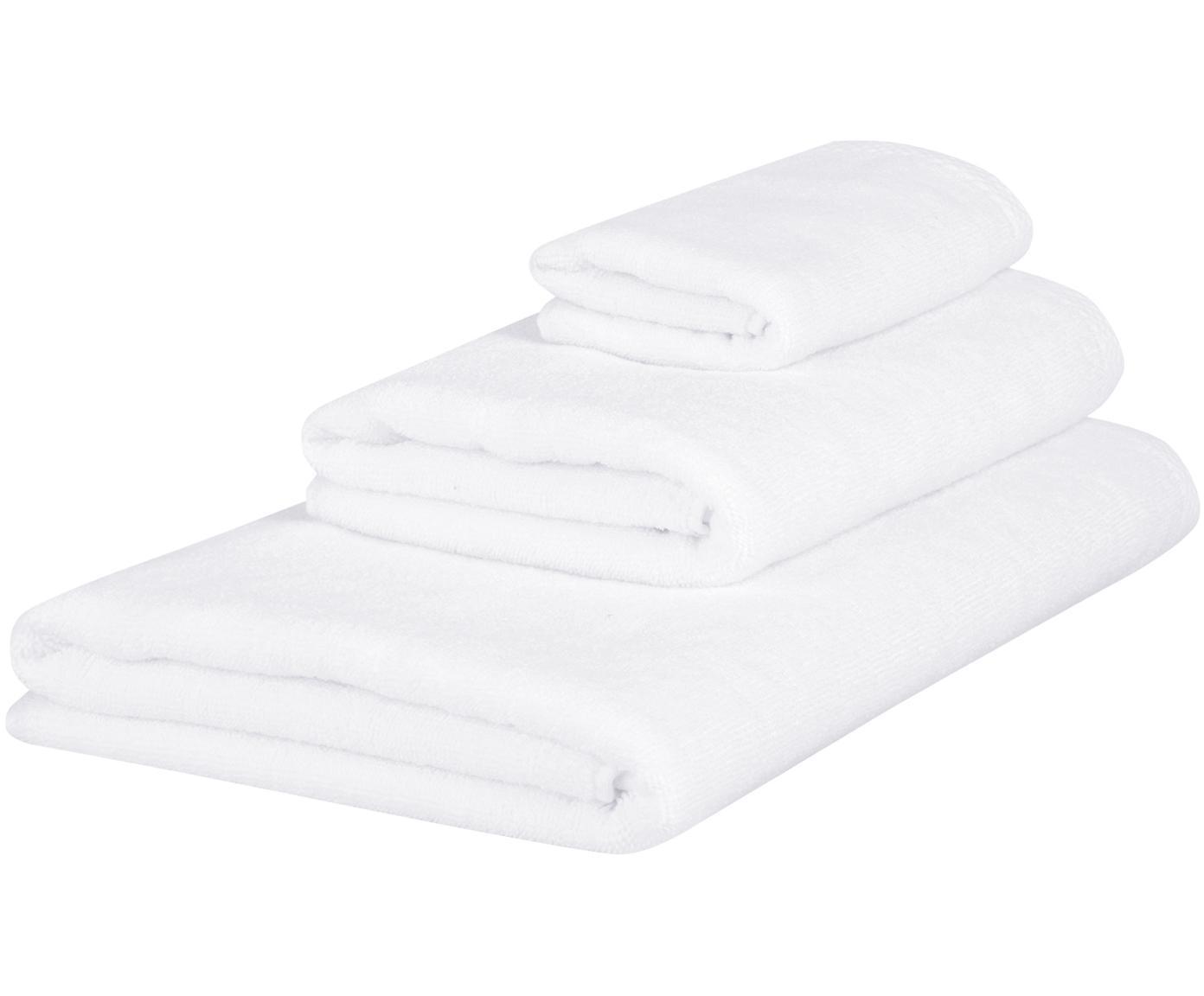 Set 3 asciugamani Comfort, Bianco, Diverse dimensioni