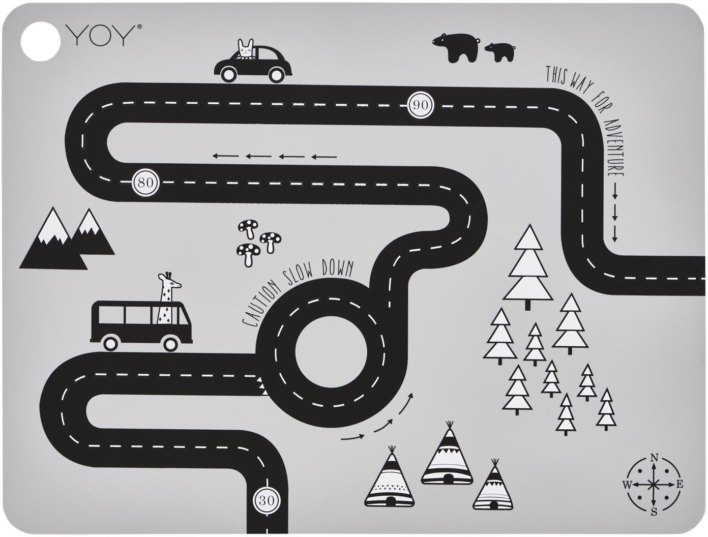 Tischset Adventure, Silikon, Grau, Schwarz, Weiss, 34 x 45 cm