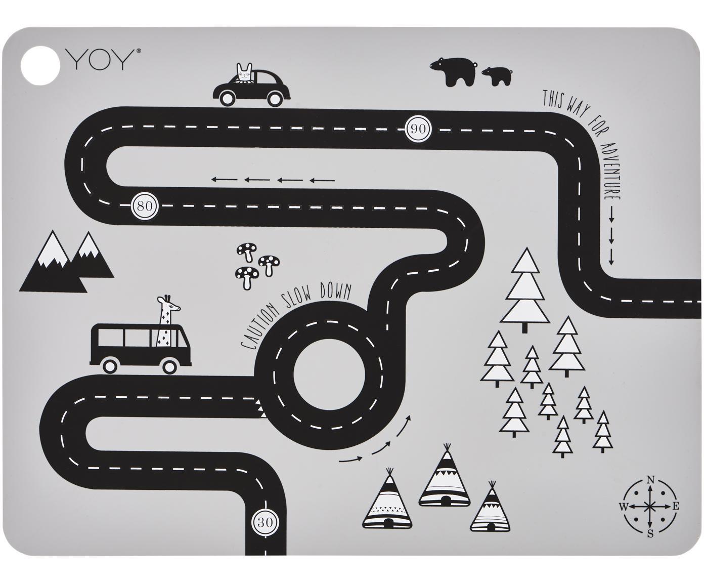 Placemat Adventure, Siliconen, Grijs, zwart, wit, 34 x 45 cm