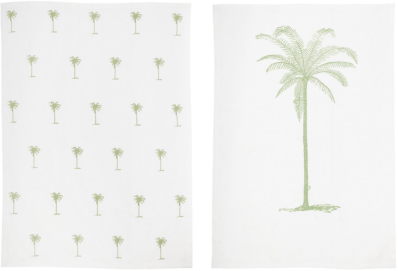 Theedoeken Nala met palmenmotief, 2 stuks, Katoen, Gebroken wit, beige, 50 x 70 cm