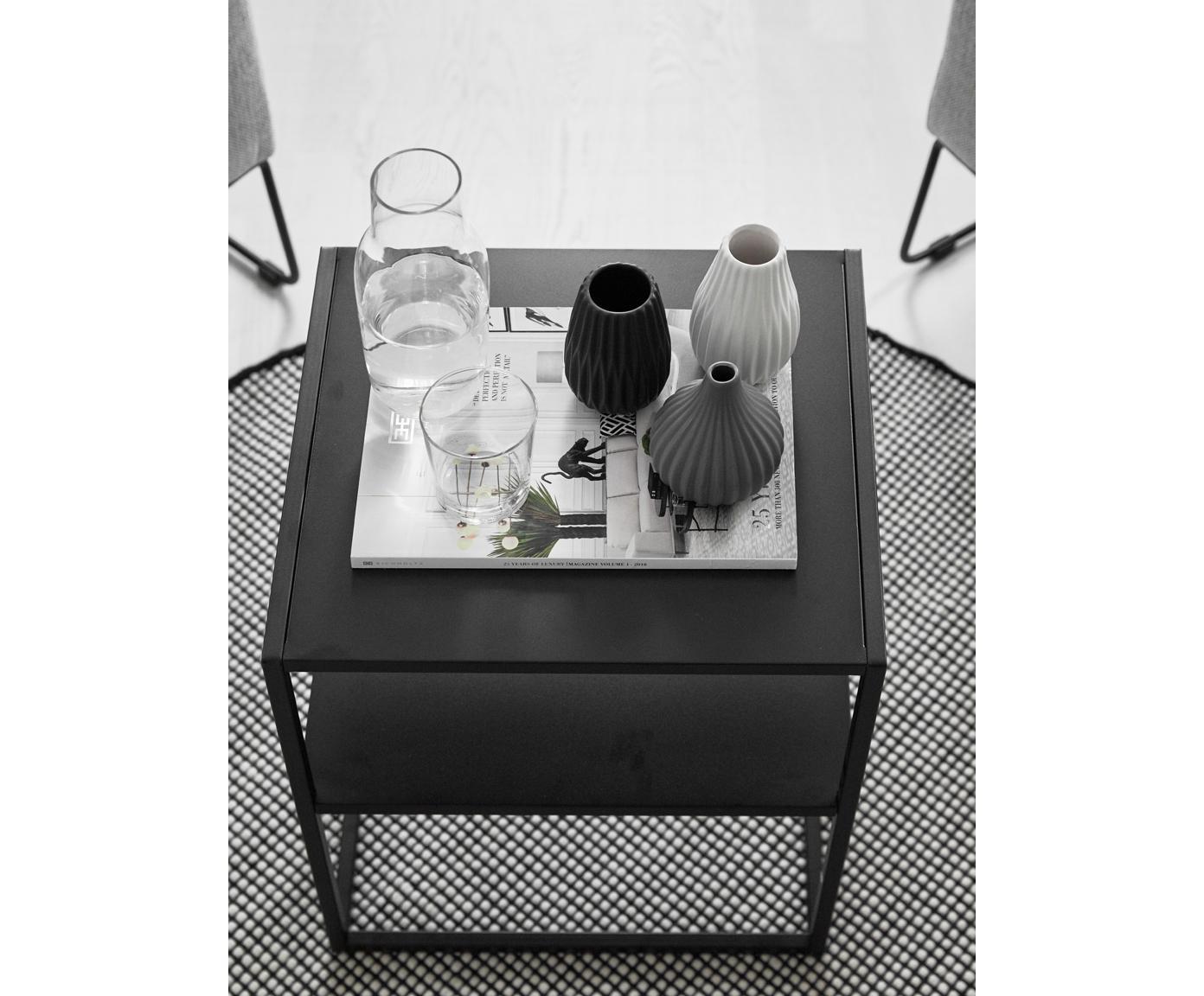 Metalen bijzettafel Newton in zwart, Gepoedercoat metaal, Zwart, B 45 x D 40 cm
