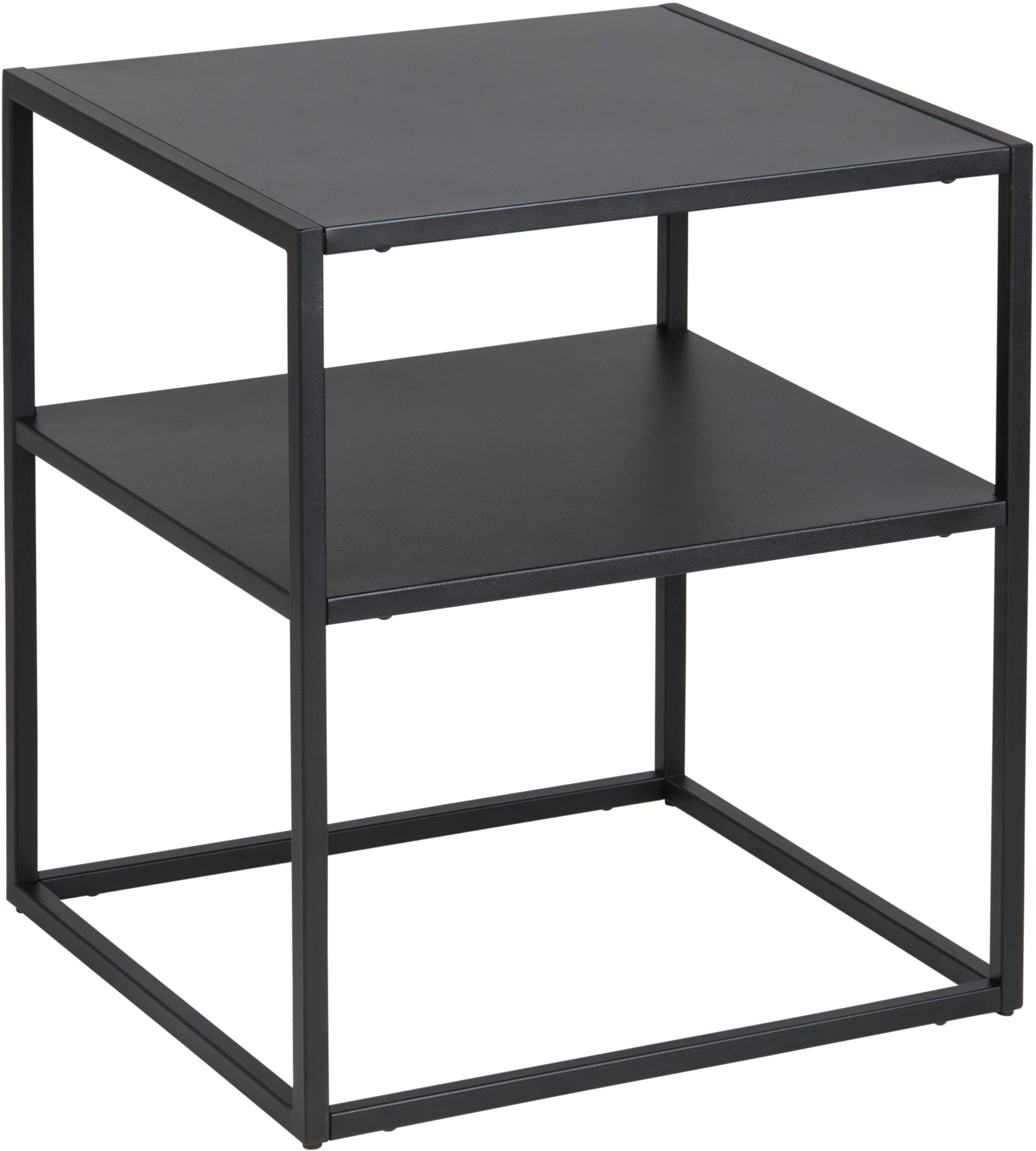 Tavolino in metallo nero Newton, Metallo  verniciato a polvere, Nero, Larg. 45 x Prof. 40 cm