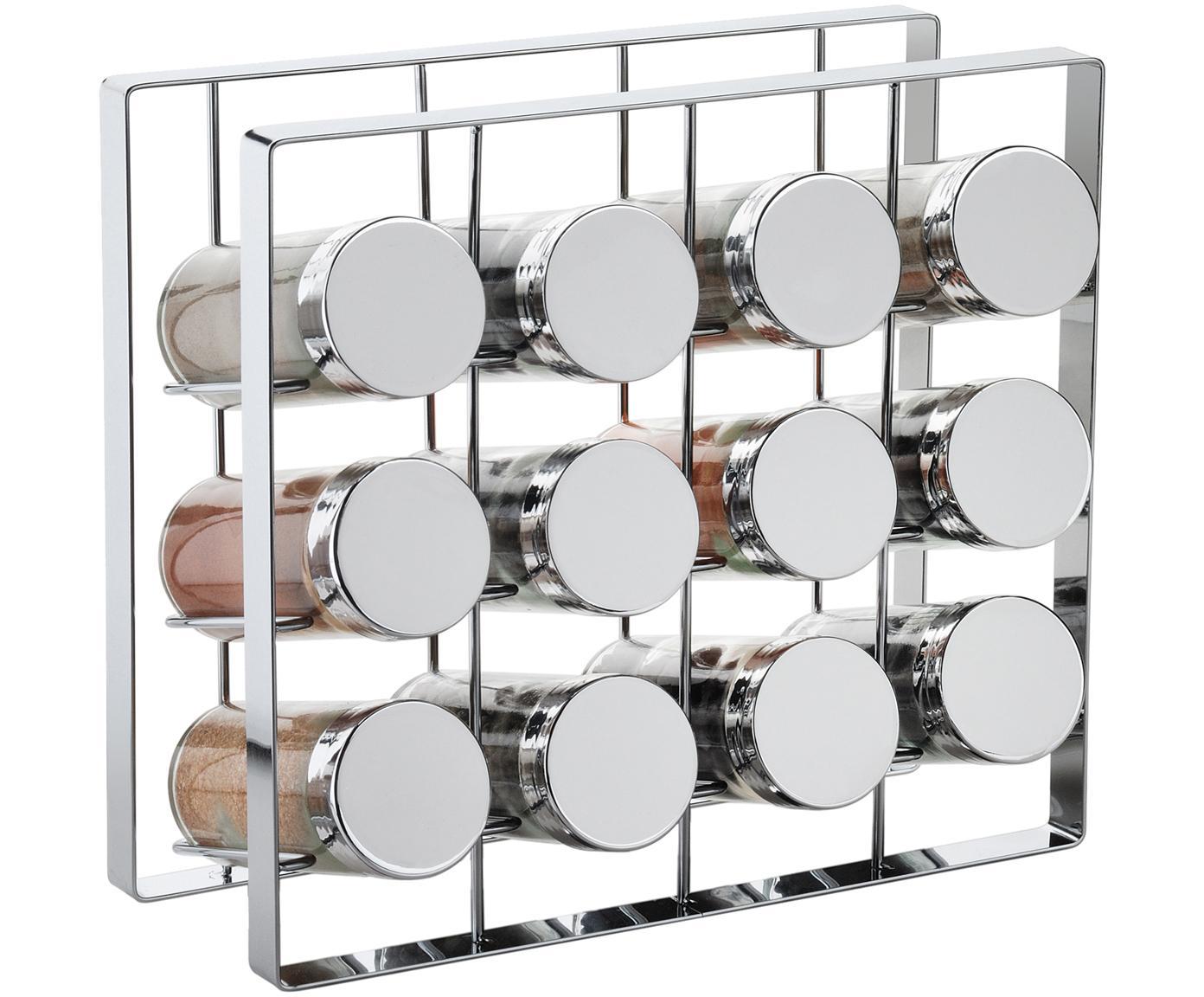 Portaspezie Spices, set di 13, Struttura: metallo verniciato, Contenitori: vetro, Coperchio: alluminio verniciato, Argento, Larg. 24 x Alt. 22 cm