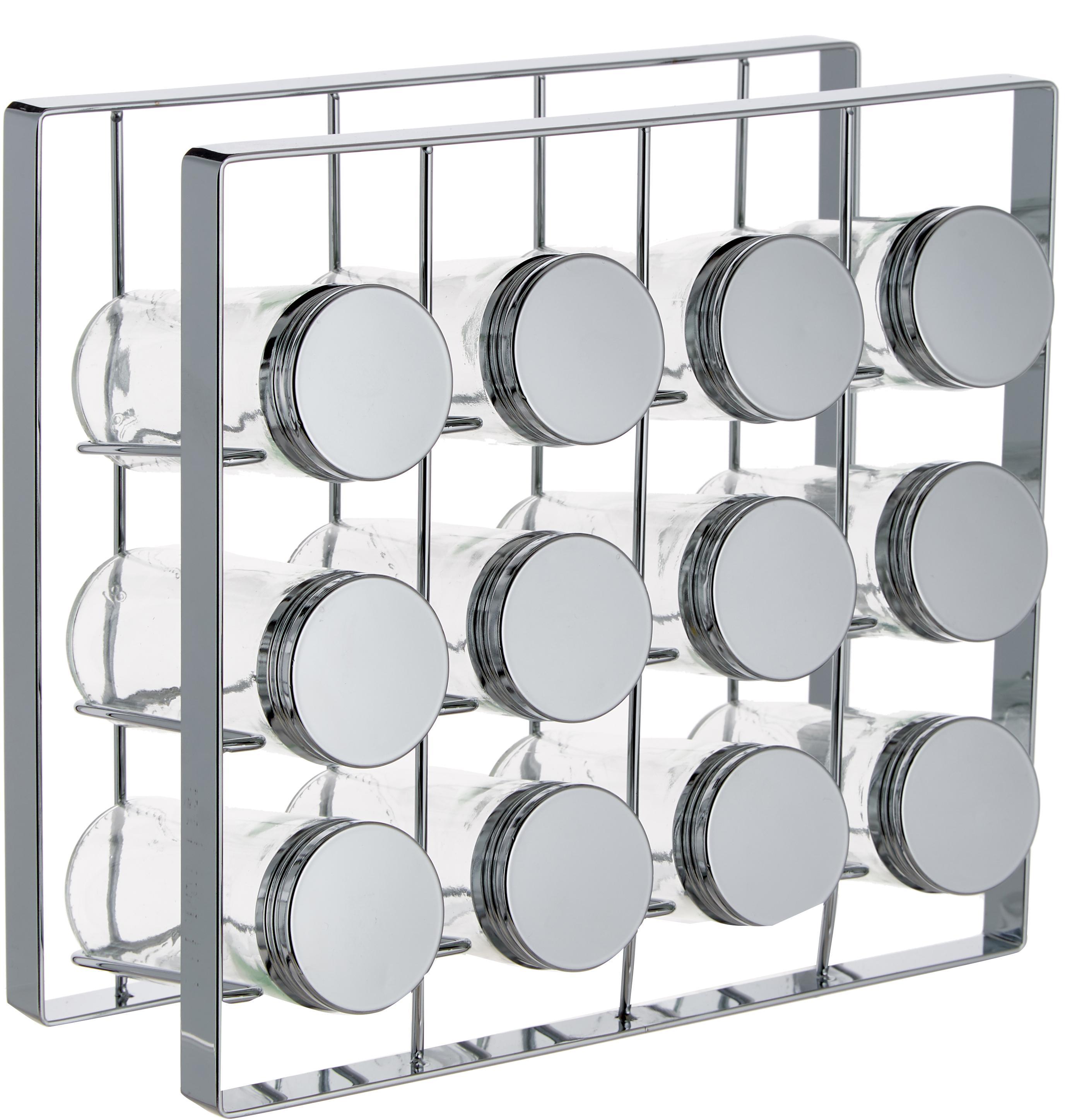 Organizador de especias Spices,13pzas., Estructura: metal pintado, Botes: vidrio, Plateado, An 24 x Al 22 cm