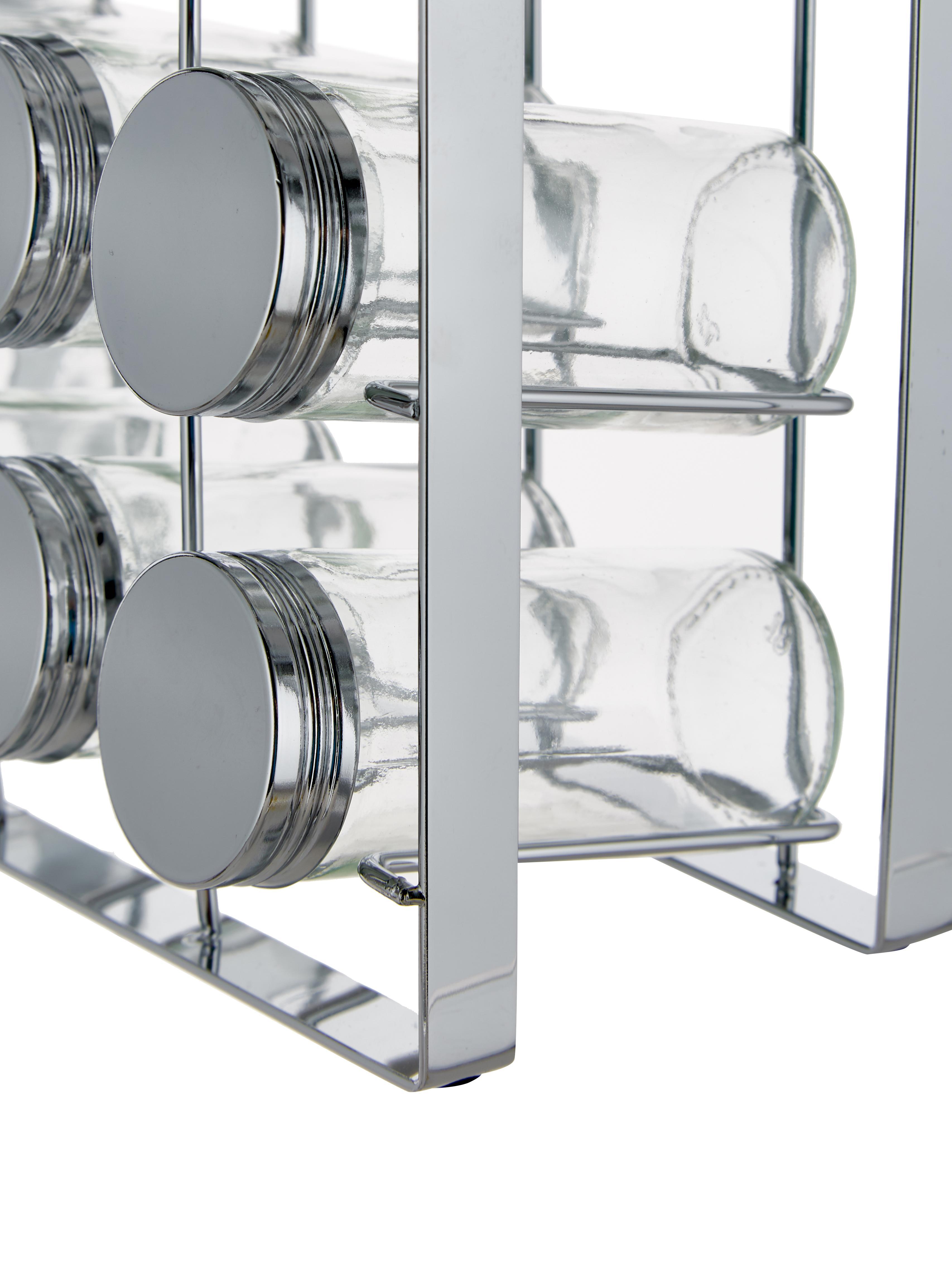 Gewürzregal Spices mit Aufbewahrungsdosen, 13-tlg., Gestell: Metall, lackiert, Dosen: Glas, Deckel: Aluminium, lackiert, Silberfarben, 24 x 22 cm