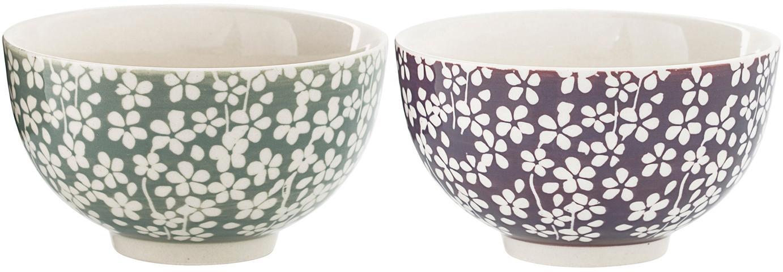 Set 2 ciotole Seeke, Ceramica, Prugna, grigio bluastro, crema, Ø 12 x Alt. 7 cm