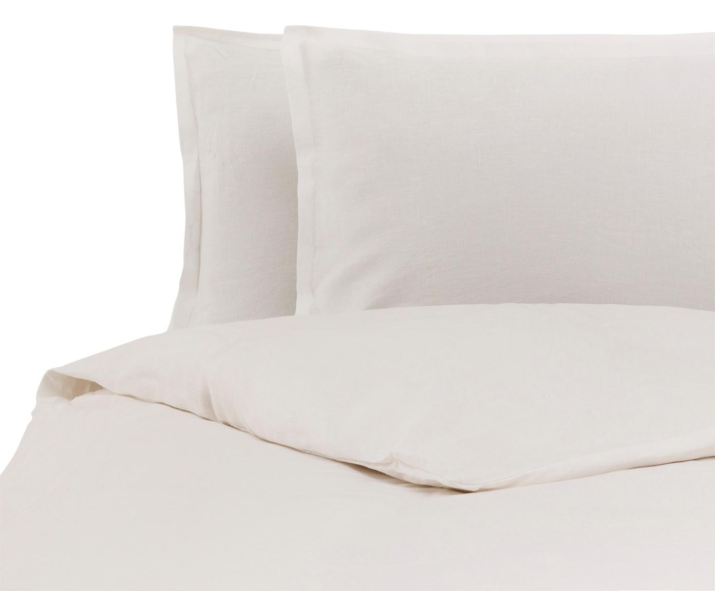 Parure copripiumino in lino Soffio, Crema, 250 x 260 cm