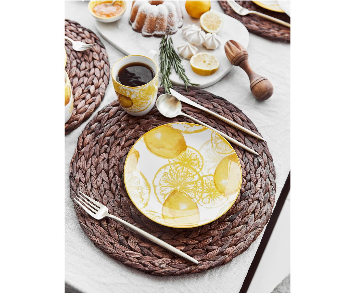 Dessertteller Lemon mit Zitronen-Motiv, 2 Stück, Porzellan, Weiß, Gelb, Ø 20 cm