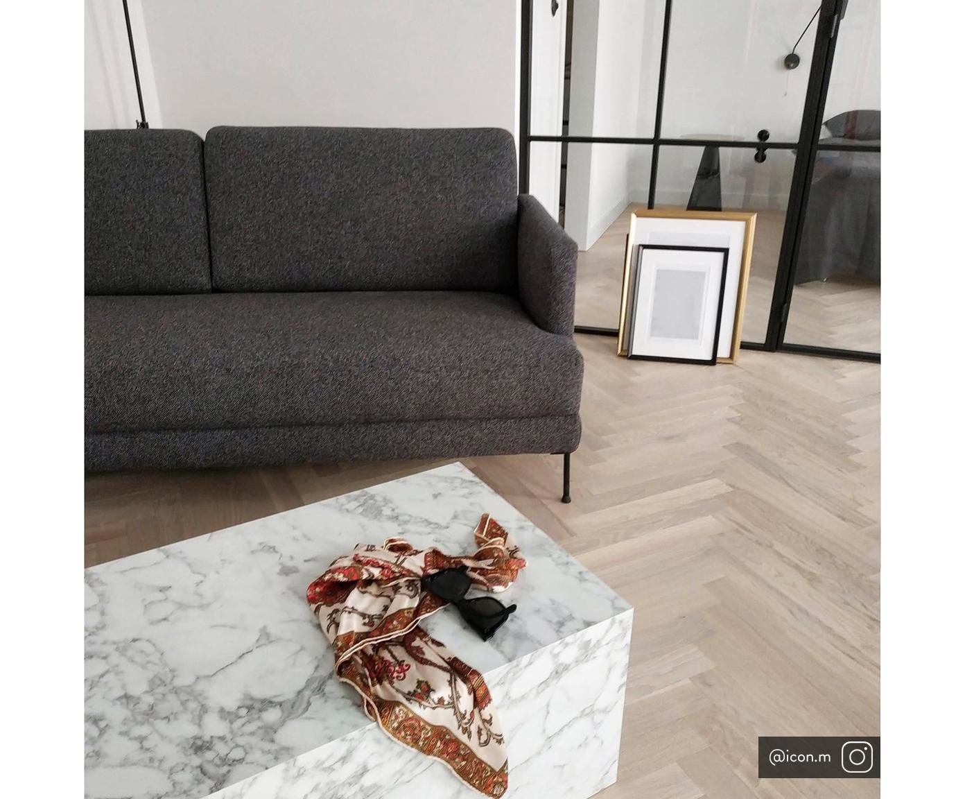 Sofa Fluente (3-Sitzer), Bezug: Polyester 45.000 Scheuert, Gestell: Massives Kiefernholz, Füße: Metall, lackiert, Webstoff Dunkelgrau, 197 x 85 cm