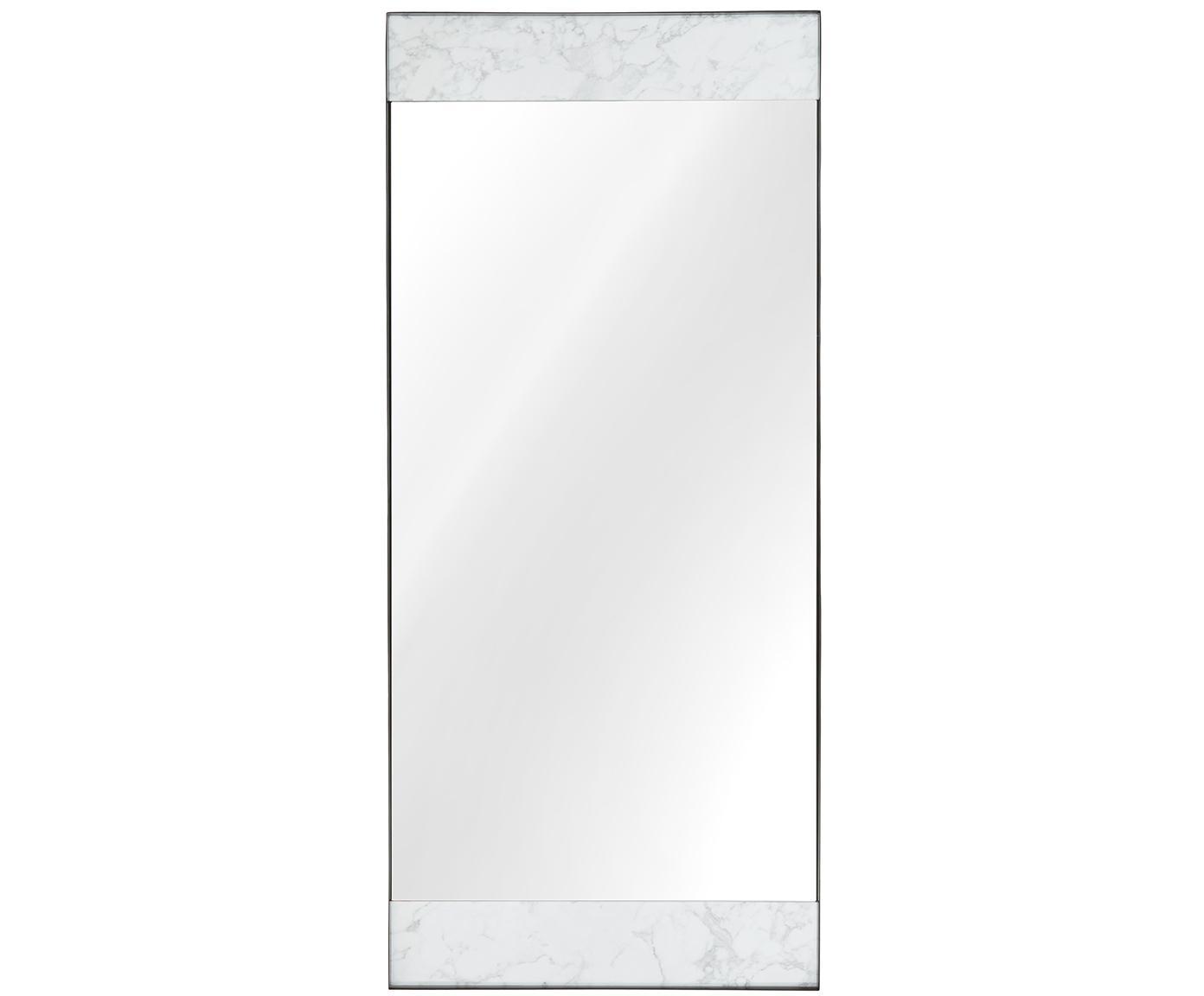 Leunende spiegel Kopenhagen, Lijst: melamine, metaal, Gemarmerd wit, zwart, 75 x 176 cm