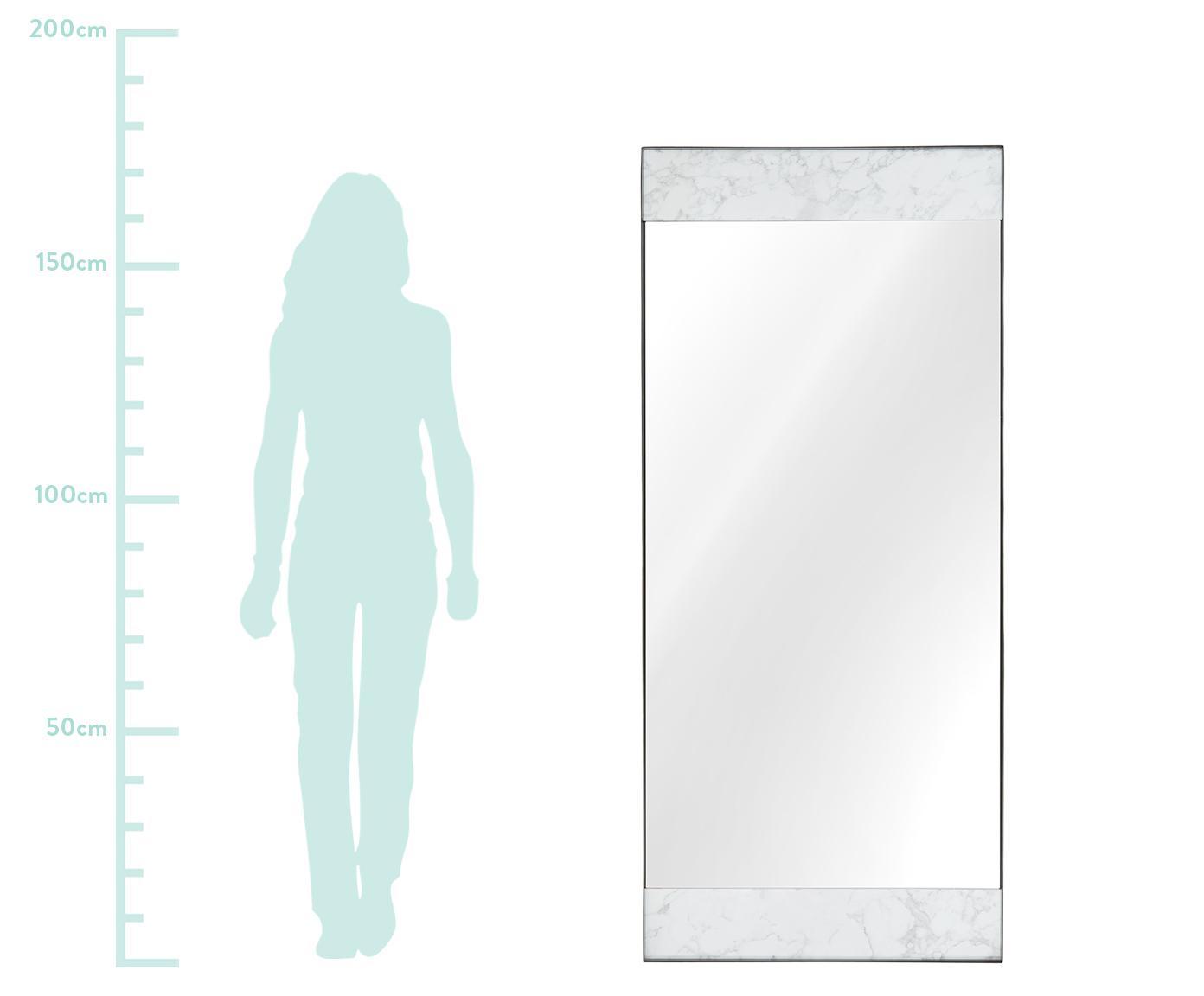 Großer Anlehnspiegel Kopenhagen in Marmoroptik, Rahmen: Melamin, Metall, Spiegelfläche: Spiegelglas, Rückseite: Mitteldichte Holzfaserpla, Weiß marmoriert, Schwarz, 75 x 176 cm