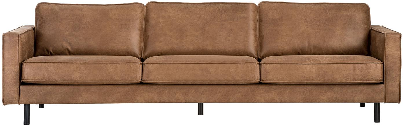Sofá Hunter (4plazas), Tapizado: cuero reciclado (70% cuer, Estructura: madera de abedul maciza y, Patas: metal con pintura en polv, Cuero marrón, An 264 x F 90 cm