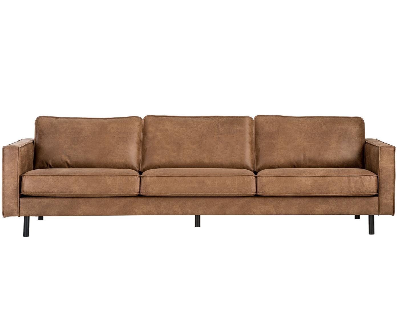 Leder-Sofa Hunter (4-Sitzer), Bezug: 70% recyceltes Leder, 30%, Gestell: Massives Birkenholz und h, Füße: Metall, pulverbeschichtet, Leder Braun, B 264 x T 90 cm