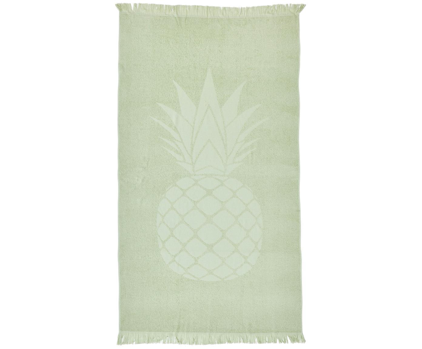 Telo mare in cotone Capri Pineapple, Verde chiaro, Larg. 90 x Lung. 160 cm