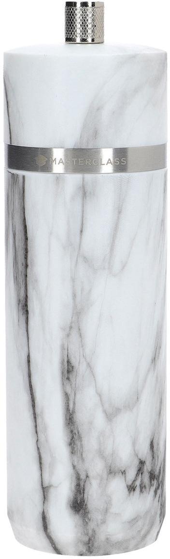 Gewürzmühle Marta in Marmoroptik, Korpus: ABS-Kunststoff, Mahlwerk: Keramik, Weiss, marmoriert, Silberfarben, Ø 5 x H 19 cm