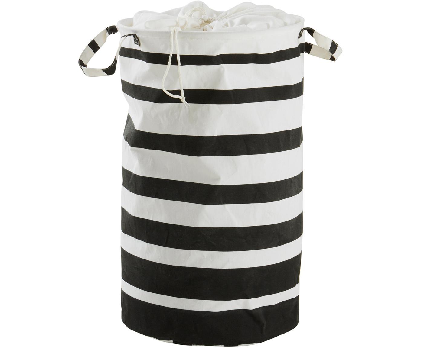 Cesta de ropa Amore, Algodón, polipropileno, Negro, blanco, Ø 40 x Al 70 cm