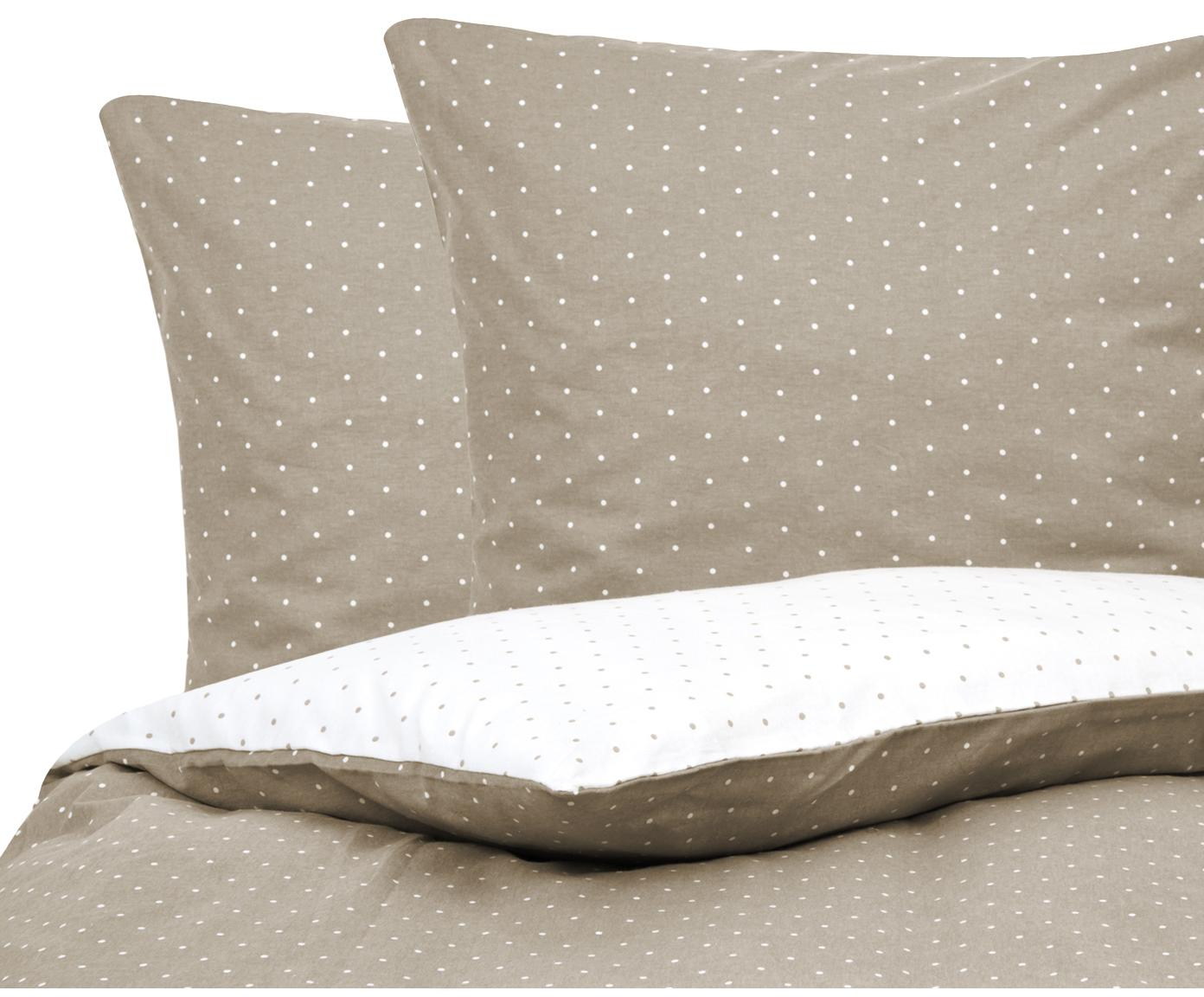 Flanell-Wendebettwäsche Betty, gepunktet, Webart: Flanell Flanell ist ein s, Beige, Weiß, 200 x 200 cm + 2 Kissen 80 x 80 cm