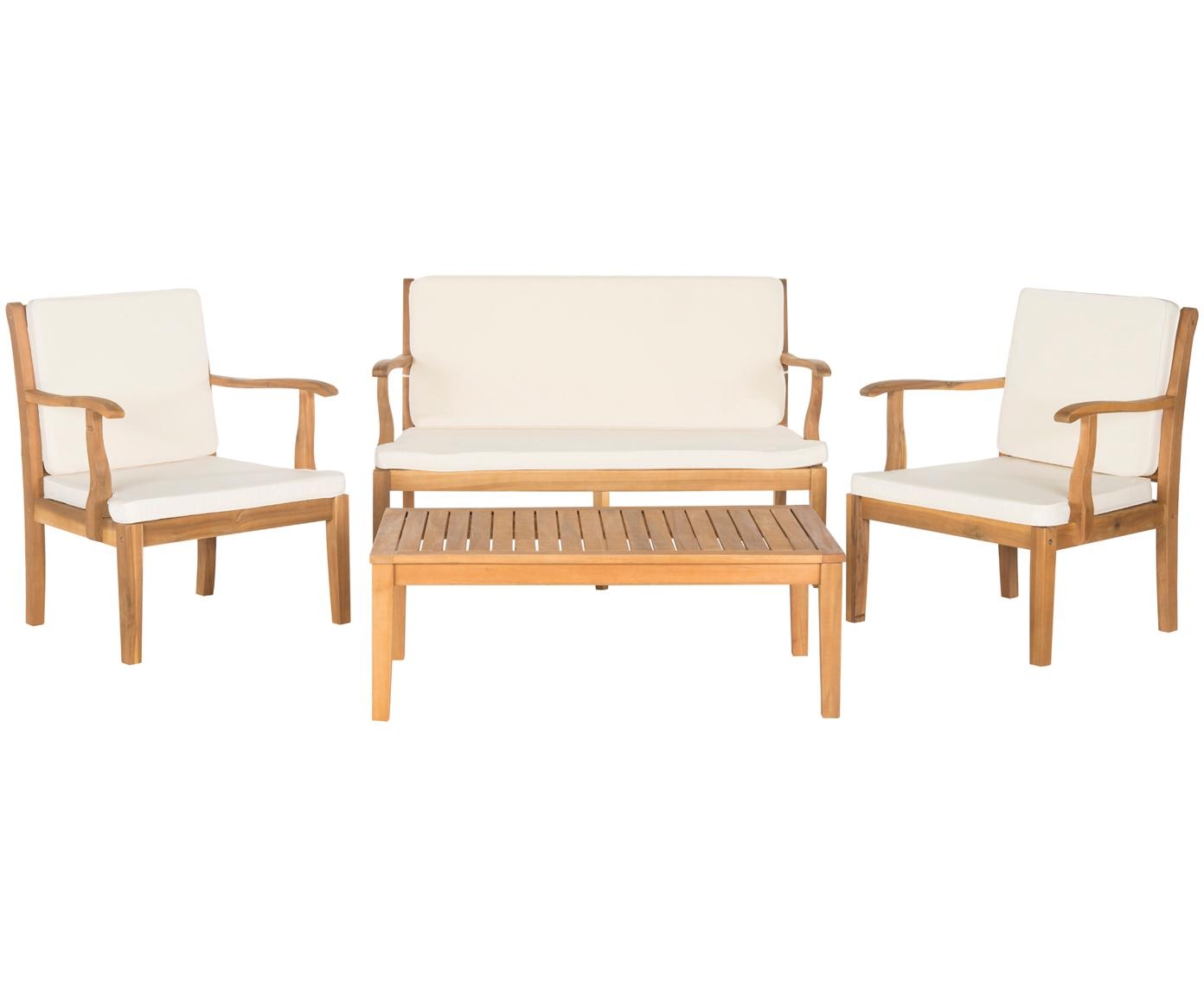 Outdoor meubelset Lugano, 4-delig., Bekleding: 100 % polyester, Acaciahout, ecru, Verschillende formaten