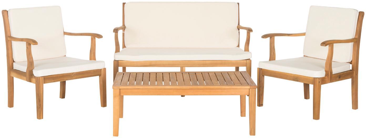 Komplet mebli ogrodowych Lugano, 4-elem., Stelaż: drewno akacjowe, olejowan, Tapicerka: poliester, Drewno akacjowe, ecru, Komplet z różnymi rozmiarami