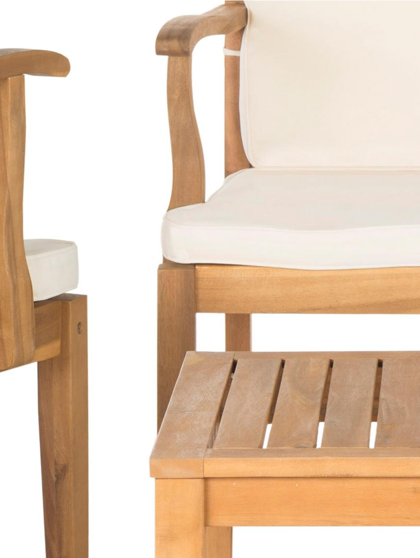 Outdoor meubelset Lugano, 4-delig., Bekleding: 100 % polyester, Acaciahout, ecru, Set met verschillende formaten