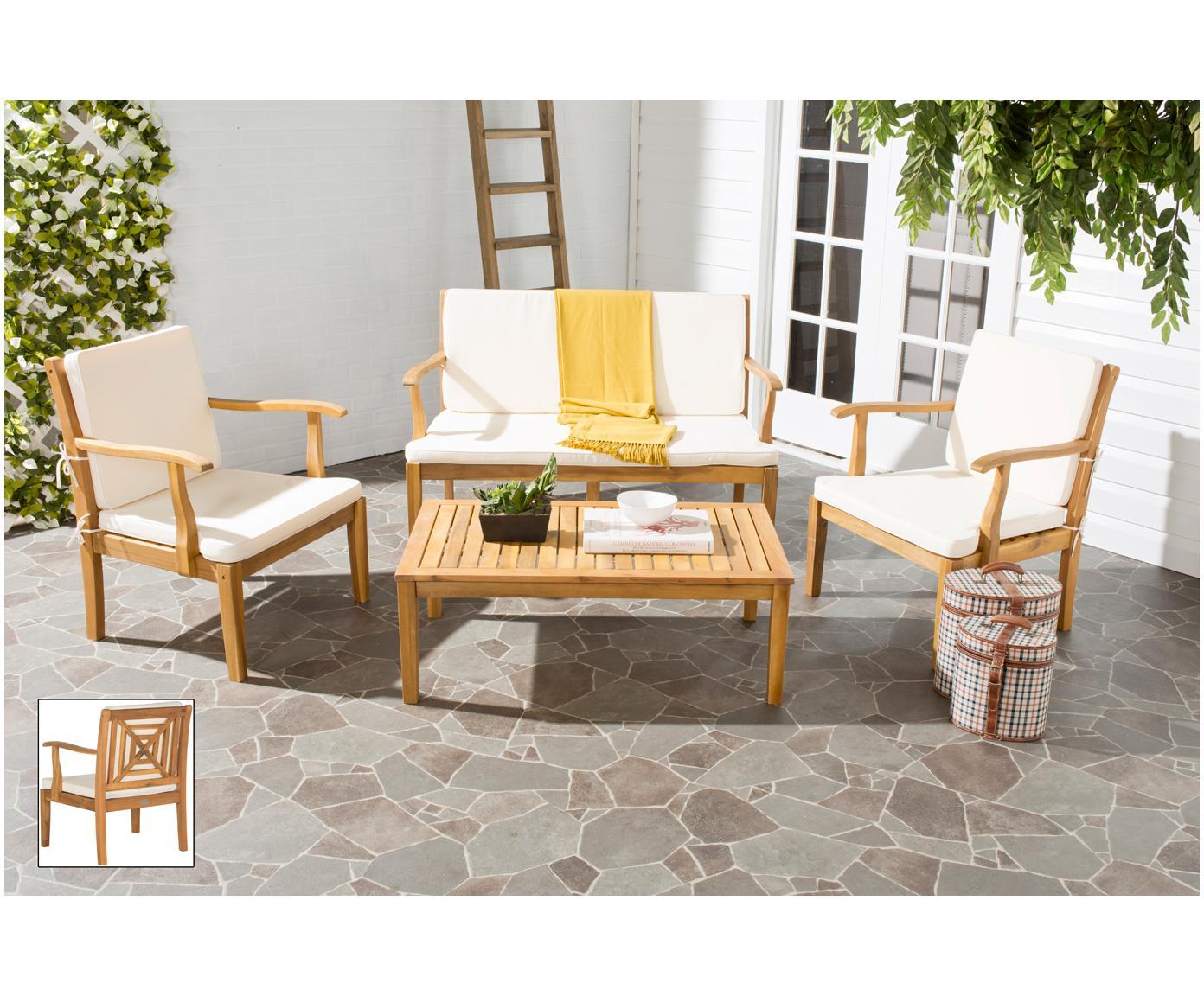 Garten-Lounge-Set Lugano, 4-tlg., Gestell: Akazienholz, geölt, Bezug: Polyester, Akazienholz, Ecru, Sondergrößen