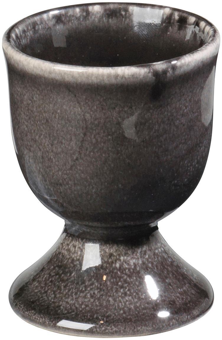 Ręcznie wykonany kieliszek do jajek z kamionki Nordic Coal, 4szt., Kamionka, Brązowy, Ø 5 x W 6 cm