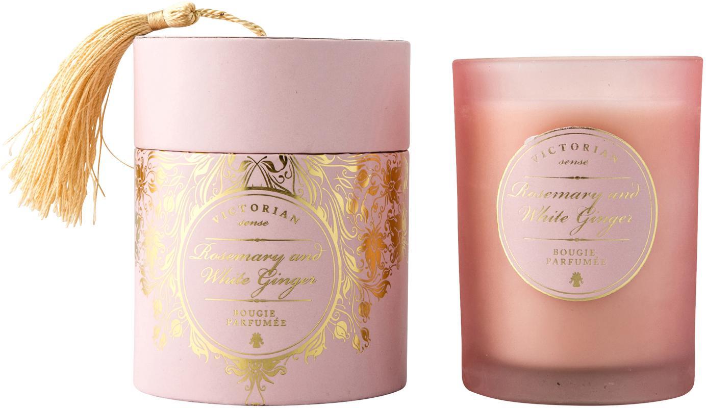 Duftkerze Sense (Rosmarin & Weißer Ingwer), Behälter: Glas, Behälter: Rosa<br>Wachs: Weiß, Ø 9 x H 11 cm
