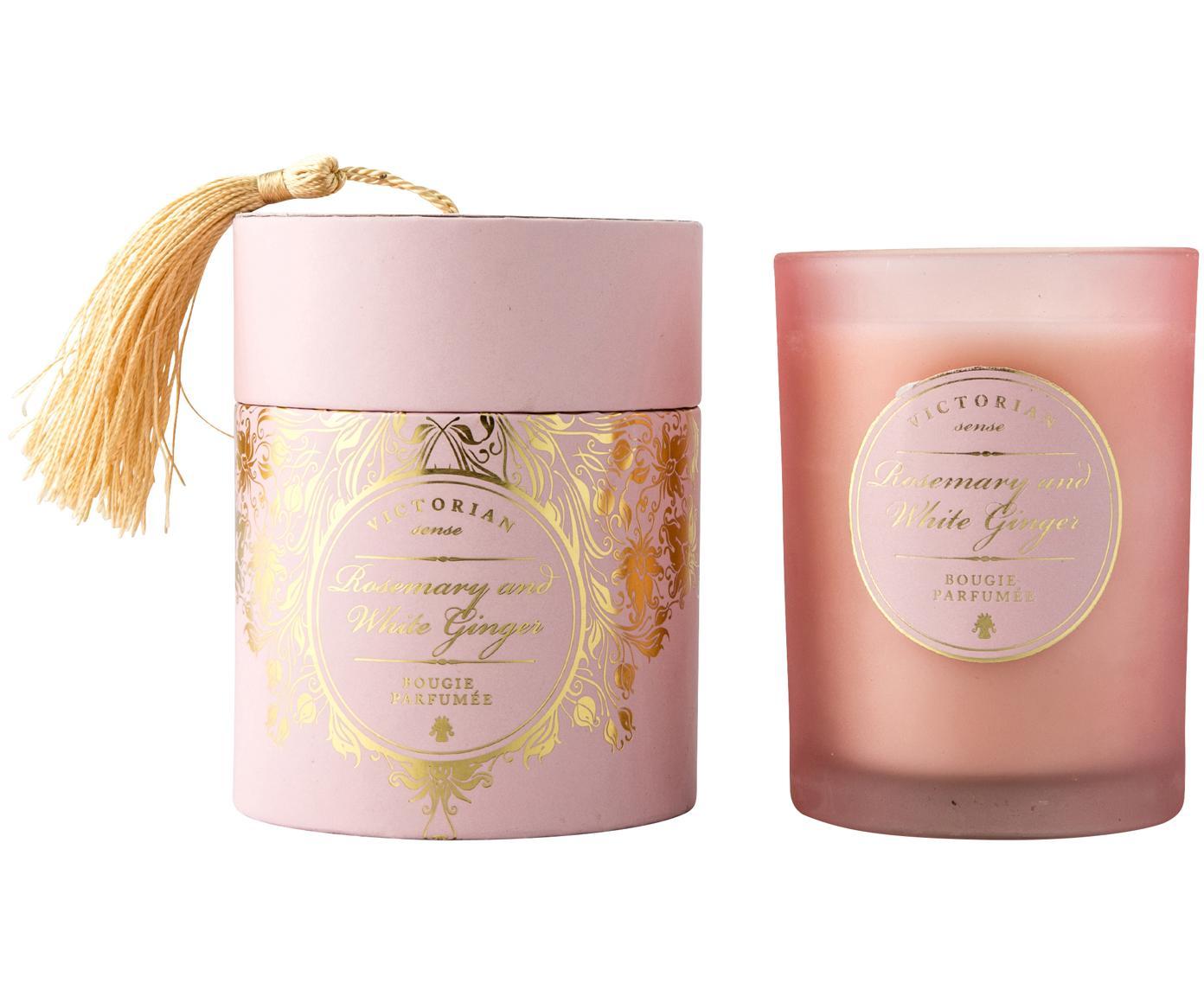 Candela profumata Sense (rosmarino e zenzero bianco), Contenitore: vetro, Contenitore: rosa<br>Cera: bianco, Ø 9 cm x A 11 cm