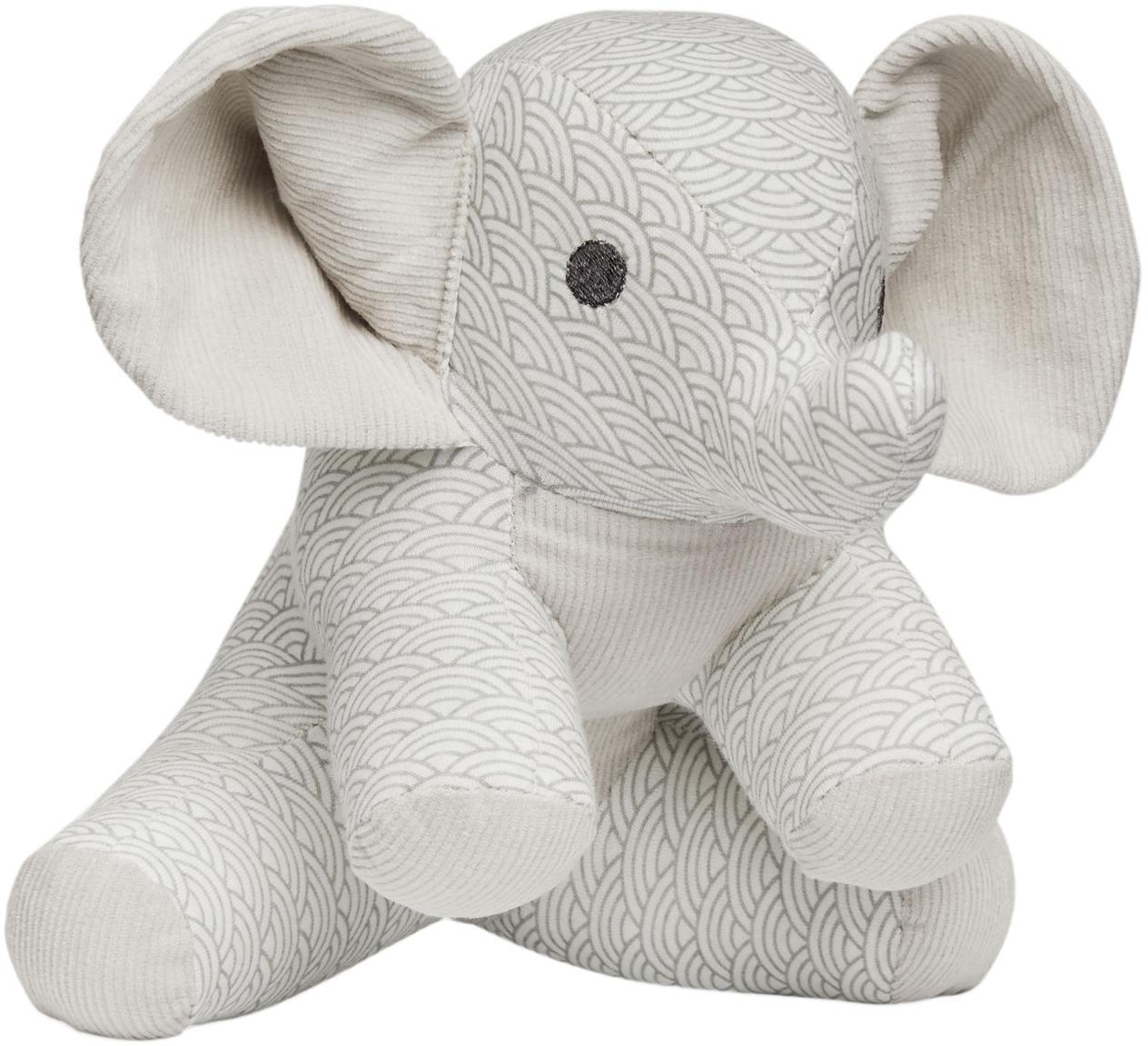 Kuscheltier Elephant aus Bio-Baumwolle, Bezug: Bio-Baumwolle, Grau, Weiß, Hellgrau, 20 x 21 cm