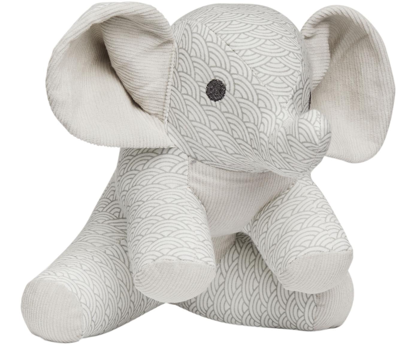 Kuscheltier Elephant aus Bio-Baumwolle, Bezug: Bio-Baumwolle, Grau, Weiss, Hellgrau, 20 x 21 cm