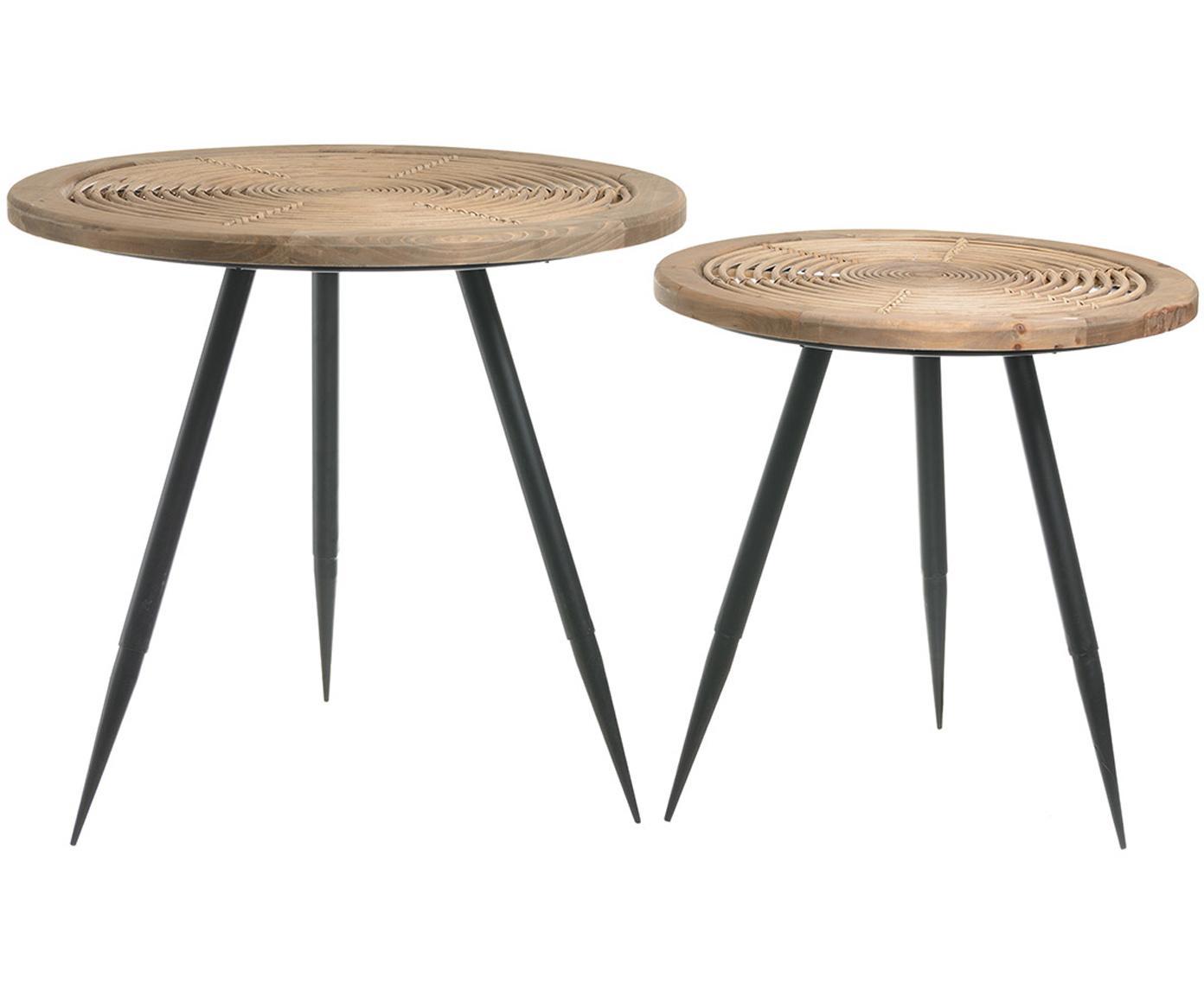 Set de mesas auxiliares Rinni, 2uds., Tablero: fibra natural, madera, Patas: metal, Beige, negro, Ø 61 x Al 57 cm