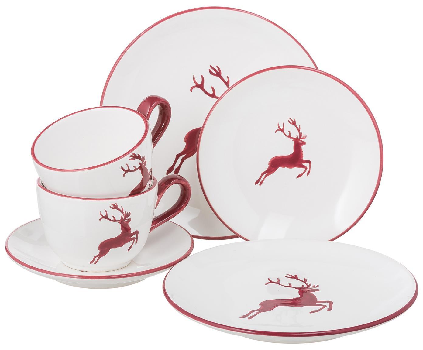 Ręcznie malowany serwis do kawy Classic Roter Hirsch, 6 elem., Ceramika, Bordowy, biały, Różne rozmiary