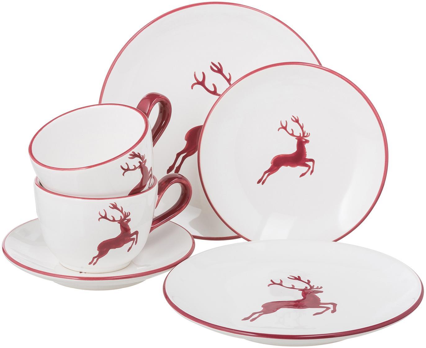 Set de café artesanal Classic Roter Hirsch, 2comensales (6pzas.), Cerámica, Blanco, rojo burdeos, Set de diferentes tamaños