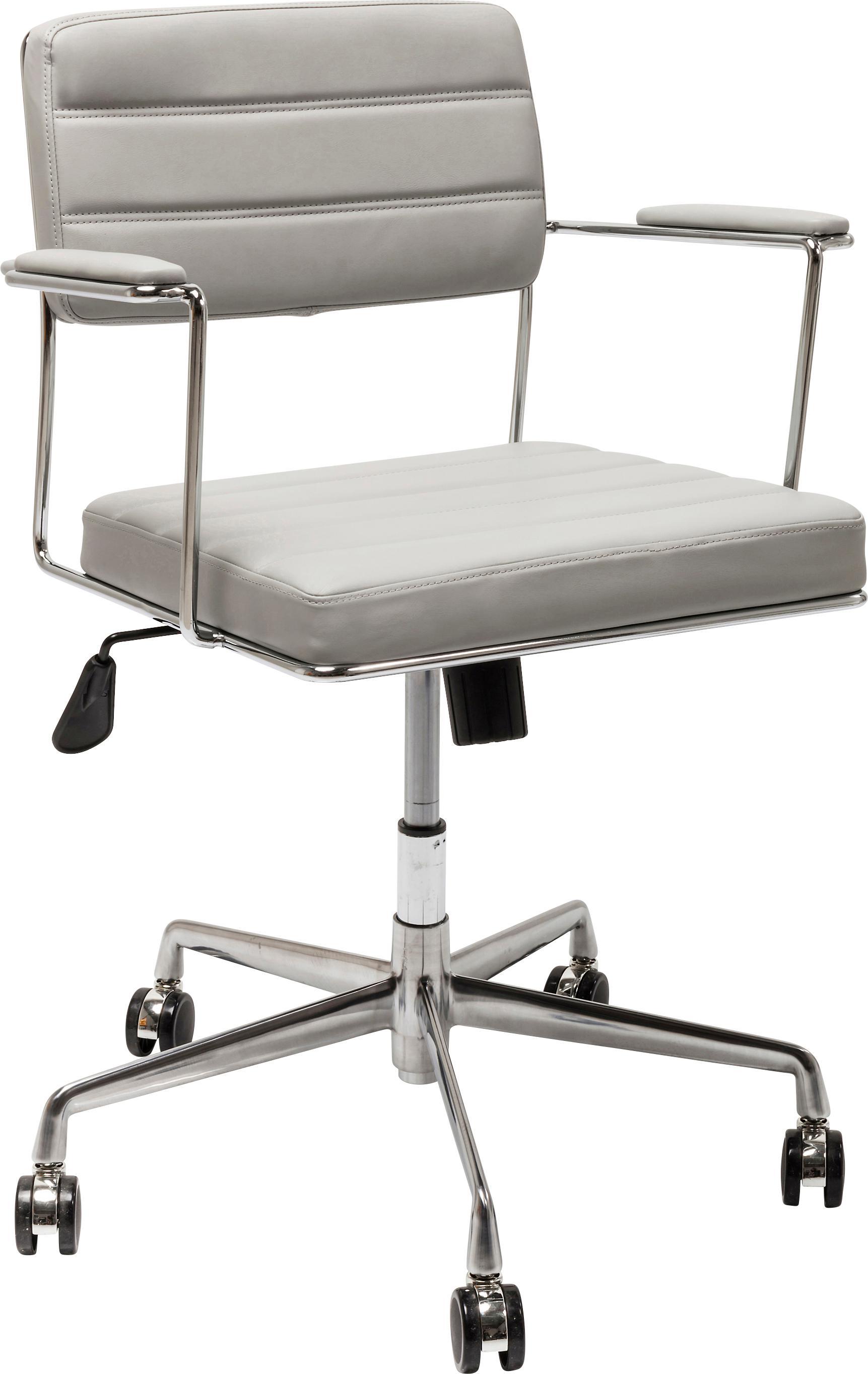 Biurowe krzesło obrotowe ze sztucznej skóry Dottore, Tapicerka: sztuczna skóra, Stelaż: metal chromowany, Jasny szary, chrom, S 44 x W 78 cm