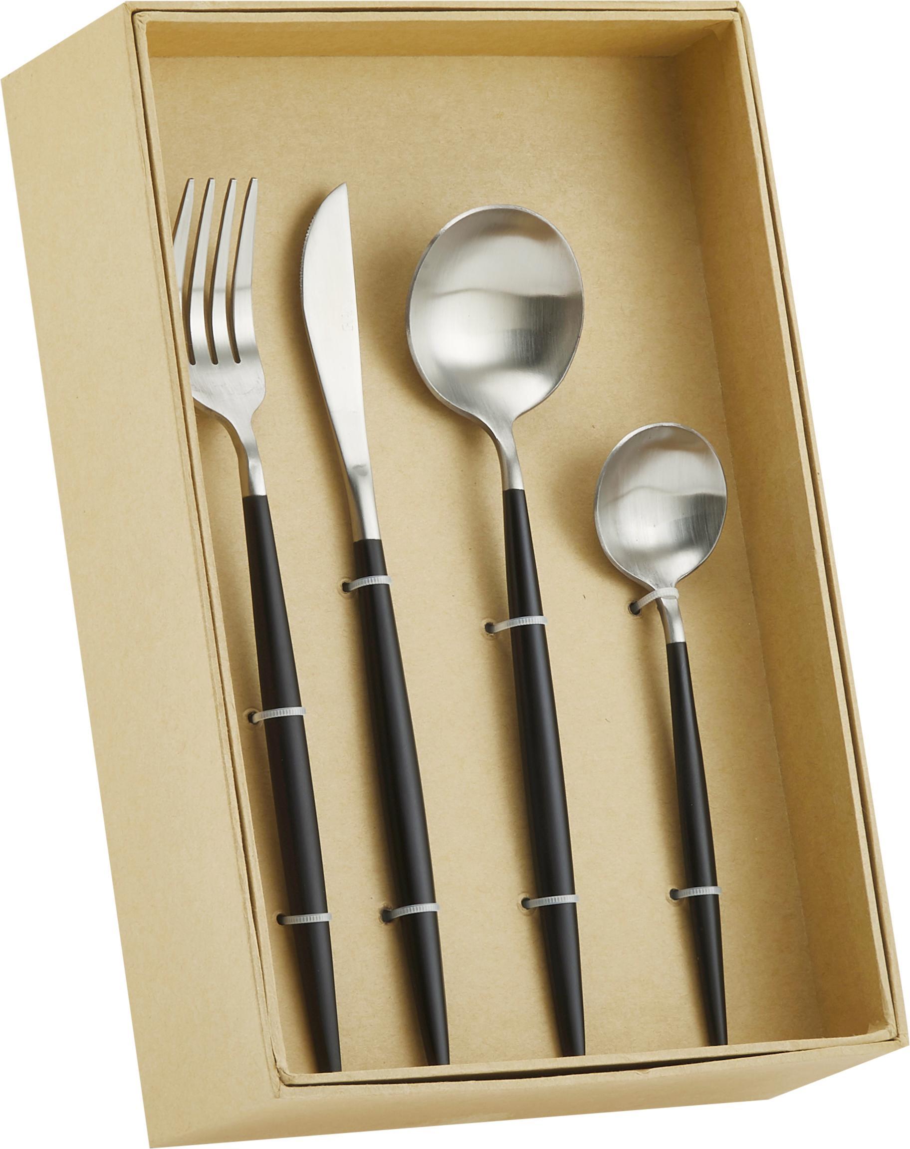 Silbernes Besteck-Set Style mit schwarzem Griff, 6 Personen (24-tlg), Edelstahl, Edelstahl, Schwarz, Sondergrößen