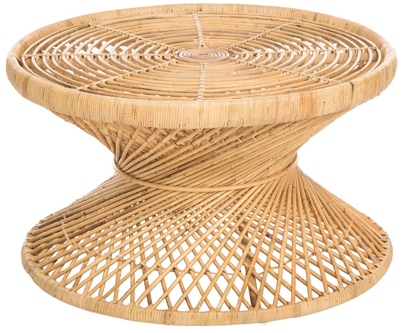 Tavolino da salotto in rattan Marvel, Rattan, finitura naturale, Rattan, finitura naturale, Ø 80 x Alt. 47 cm
