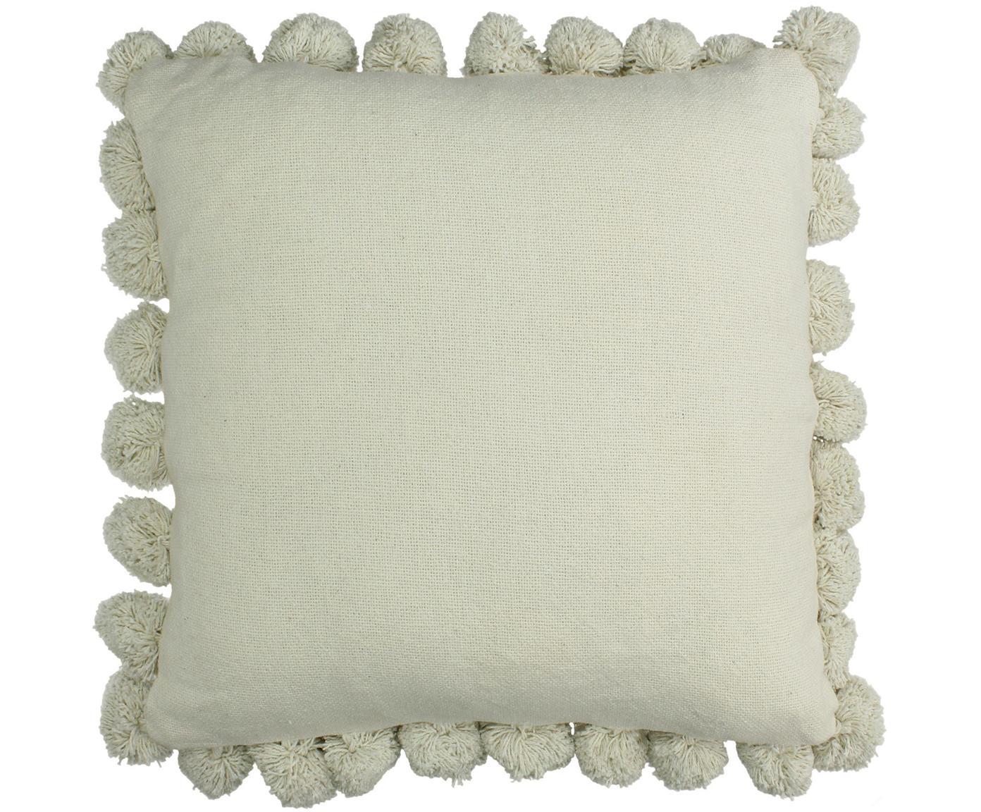 Cojín con pompones Betta, con relleno, Funda: 100%algodón, Marfil, An 45 x L 45 cm