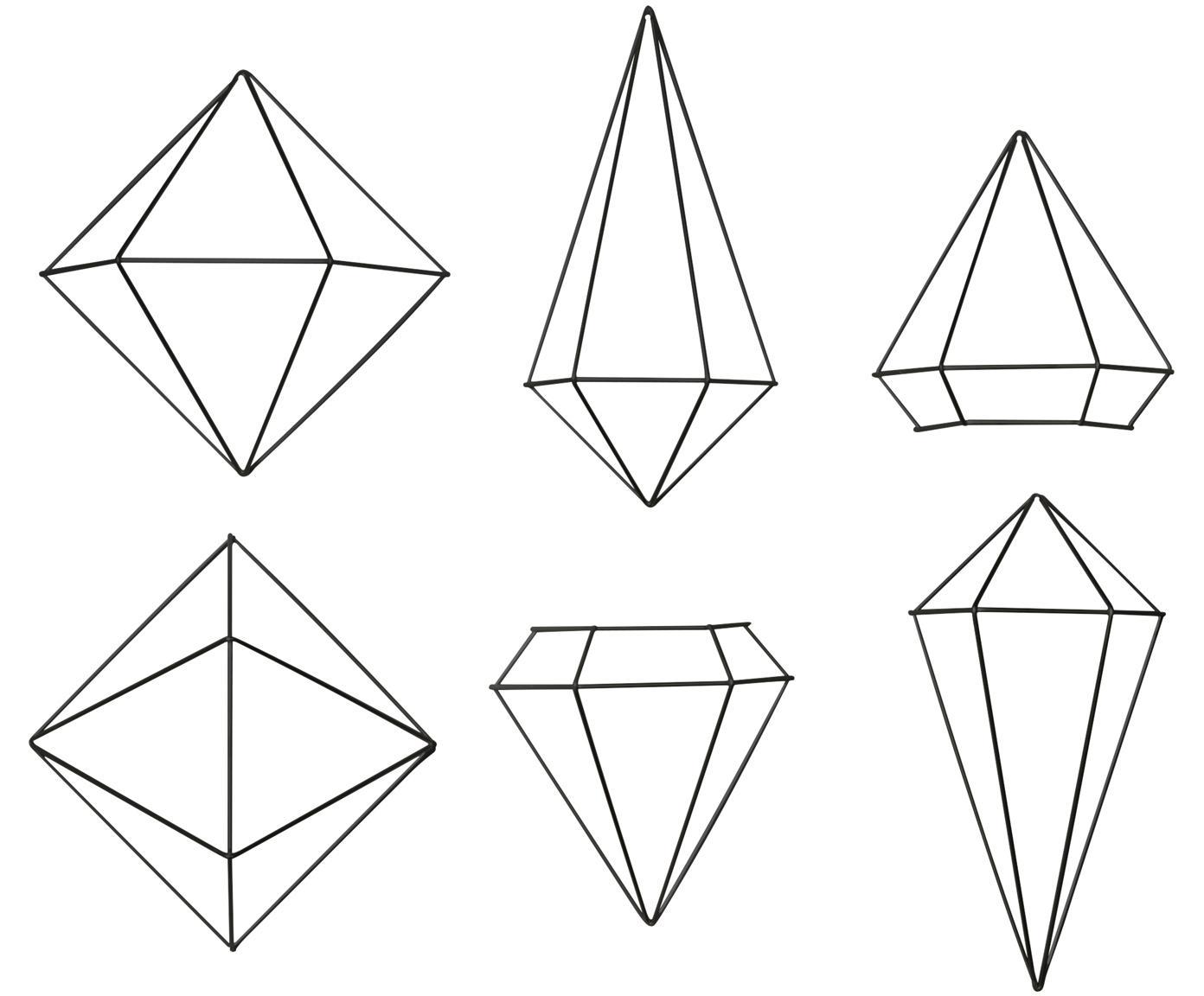 Wandobjectenset Prisma van gelakt metaal, 6-delig, Gelakt metaal, Zwart, Verschillende formaten
