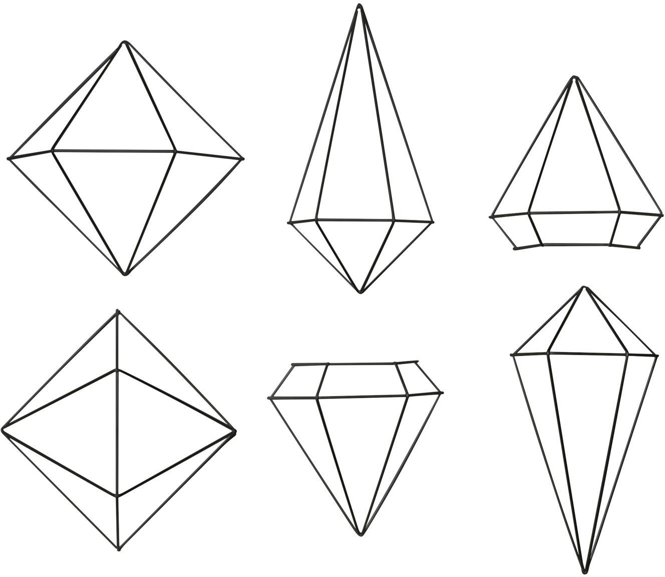 Wandobjectenset Prisma van gelakt metaal, 6-delig, Gelakt metaal, Zwart, Set met verschillende formaten