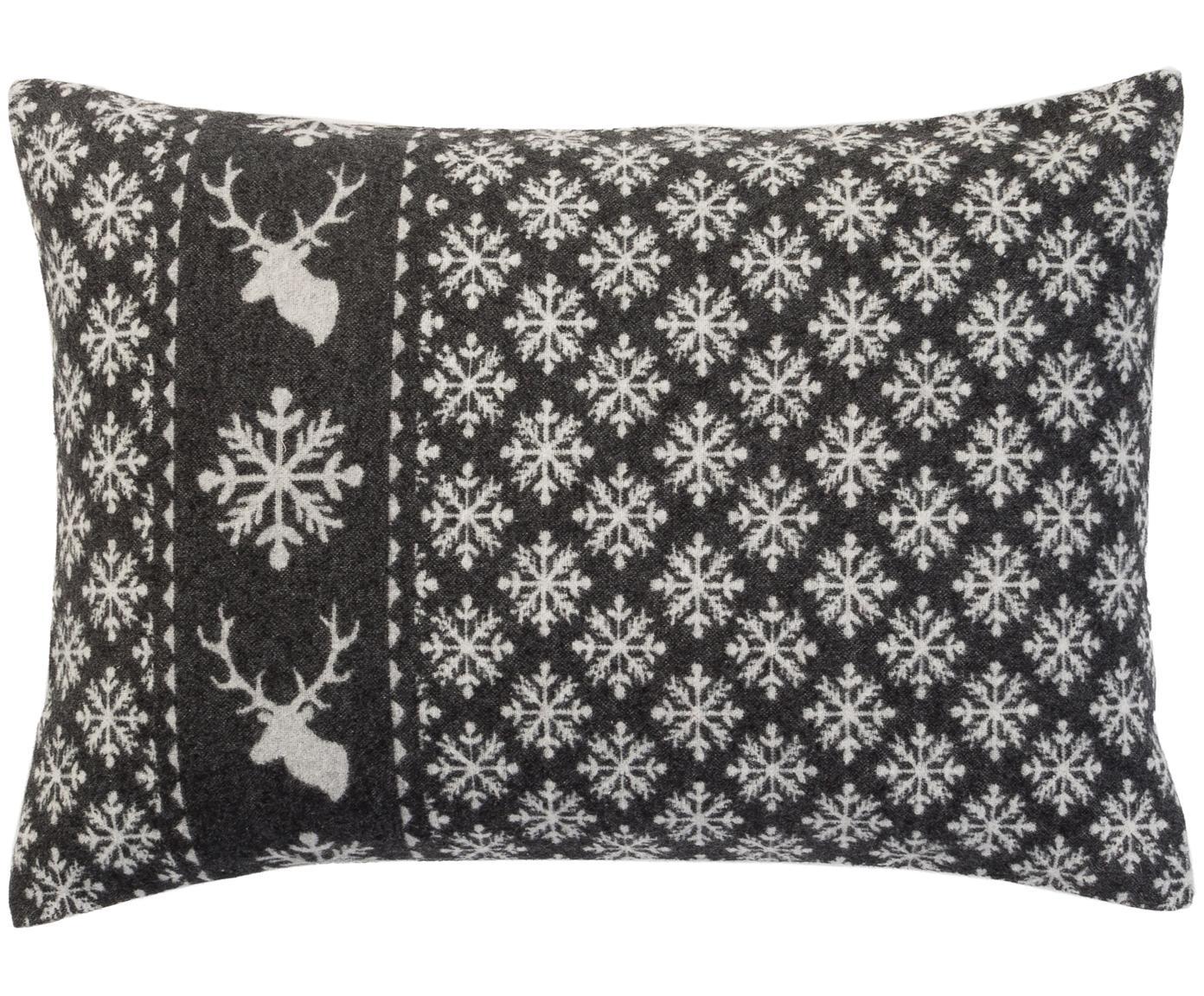Funda de cojín de tela polar Silvretta Snow, Gris, blanco, An 40 x L 60 cm