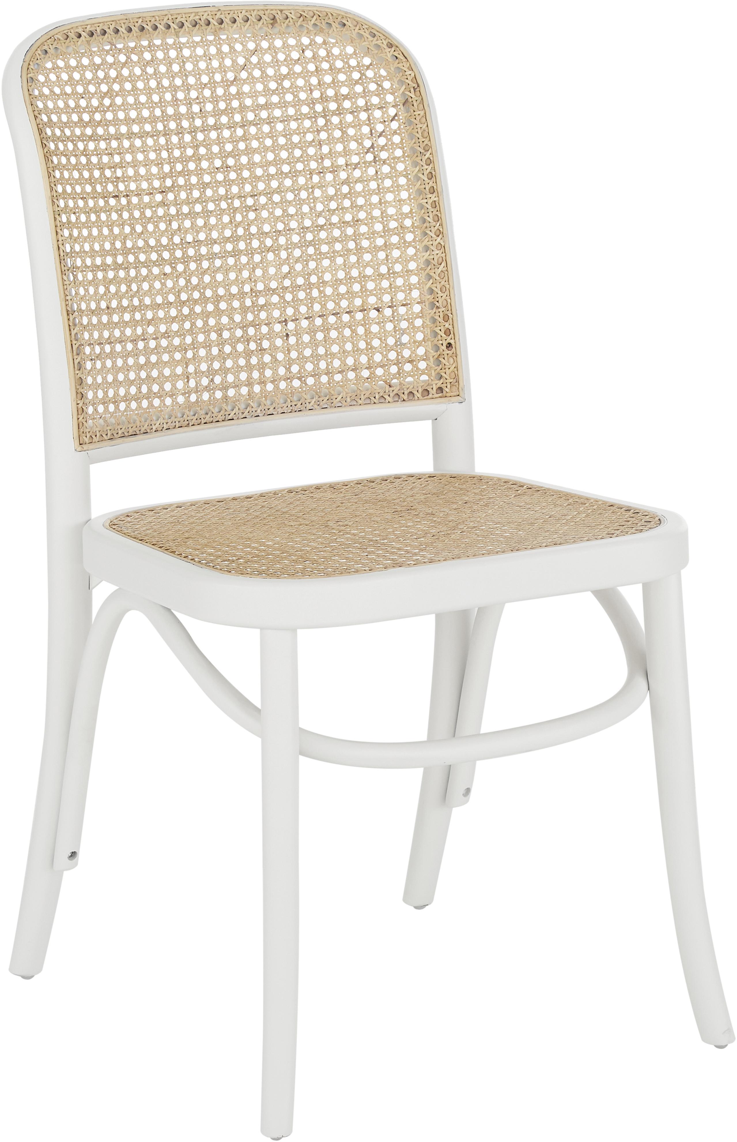 Holzstuhl Franz mit Wiener Geflecht, Sitzfläche: Rattan, Gestell: Massives Birkenholz, lack, Weiß, B 48 x T 59 cm
